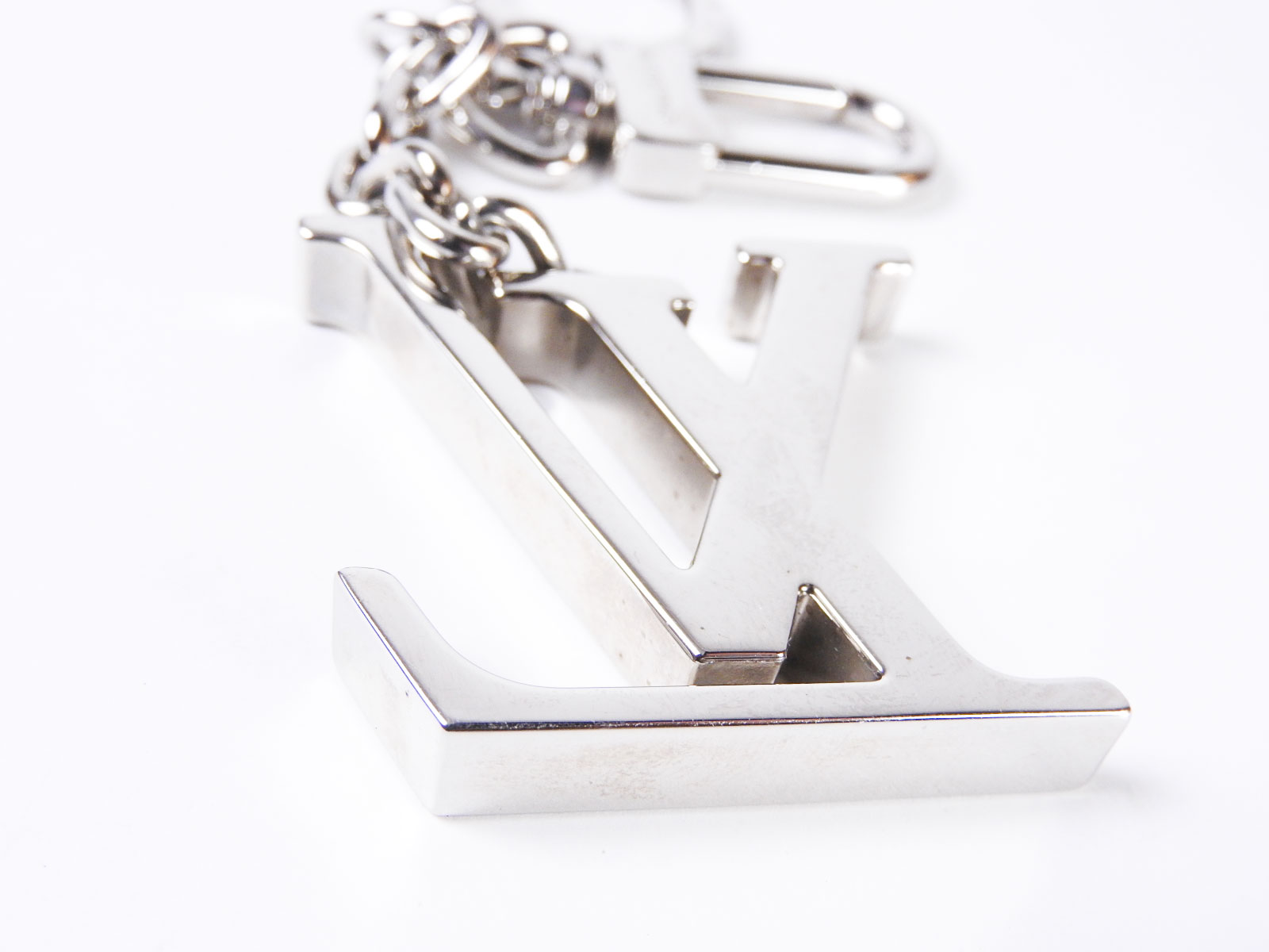 auth louis vuitton porte cles initilal key holder ring charm silver m65071 a3264