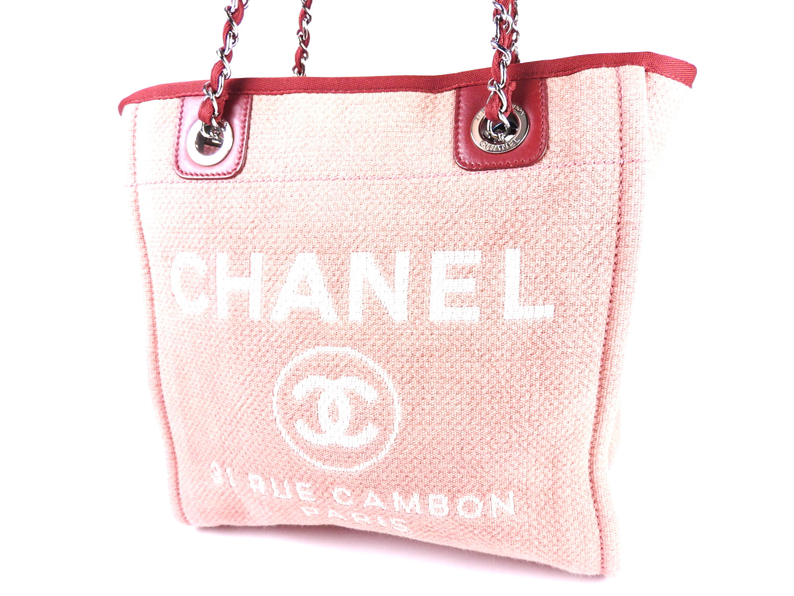 9ad706c2611bfb Auth CHANEL Deauville PM CC Chain Shoulder Tote Bag Canvas Red Pink A66939  A4718   eBay