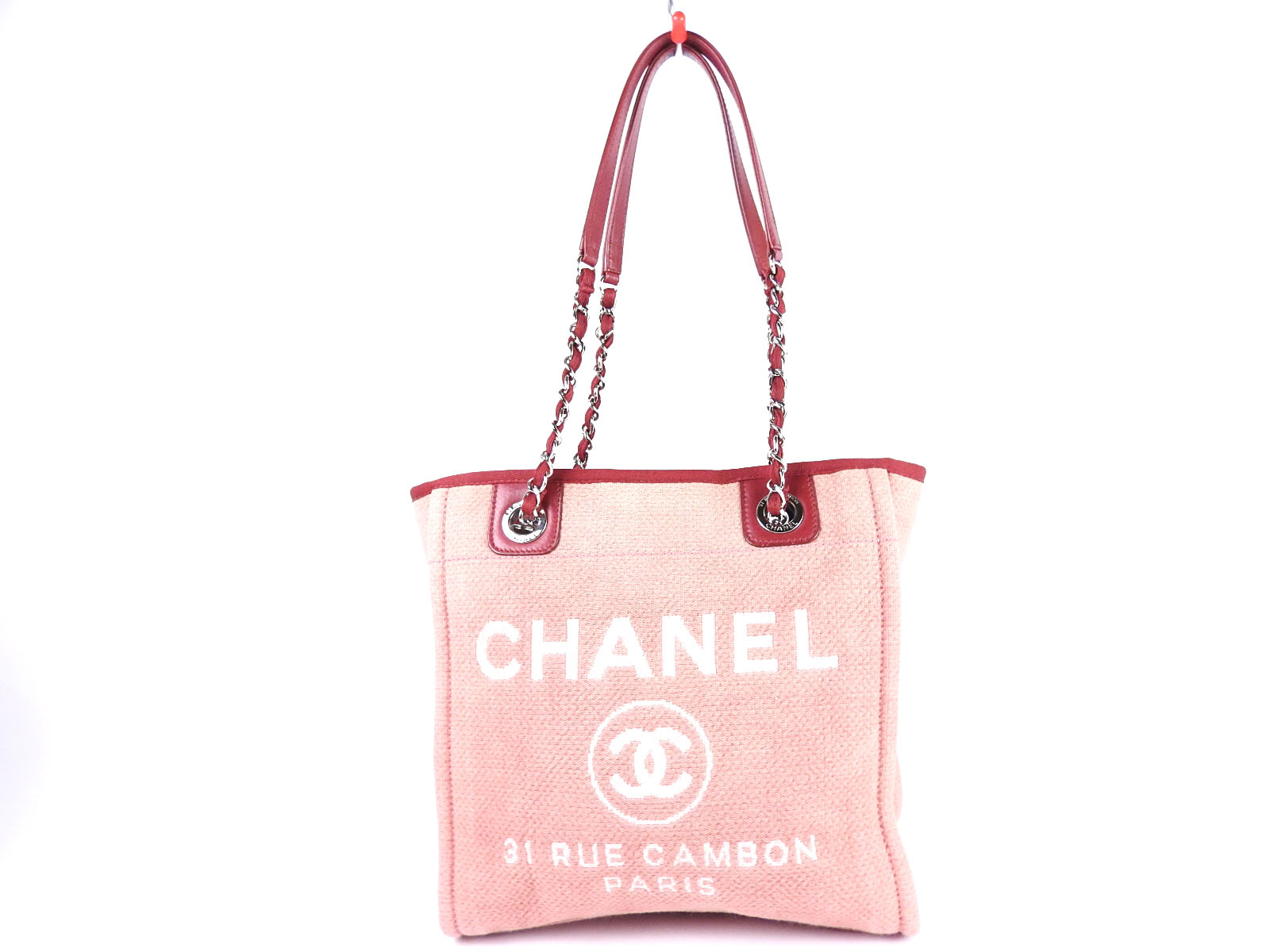 4424551afec322 Auth CHANEL Deauville PM CC Chain Shoulder Tote Bag Canvas Red Pink A66939  A4718 | eBay. Chanel Canvas Tote Shopping Bag 8099 ...