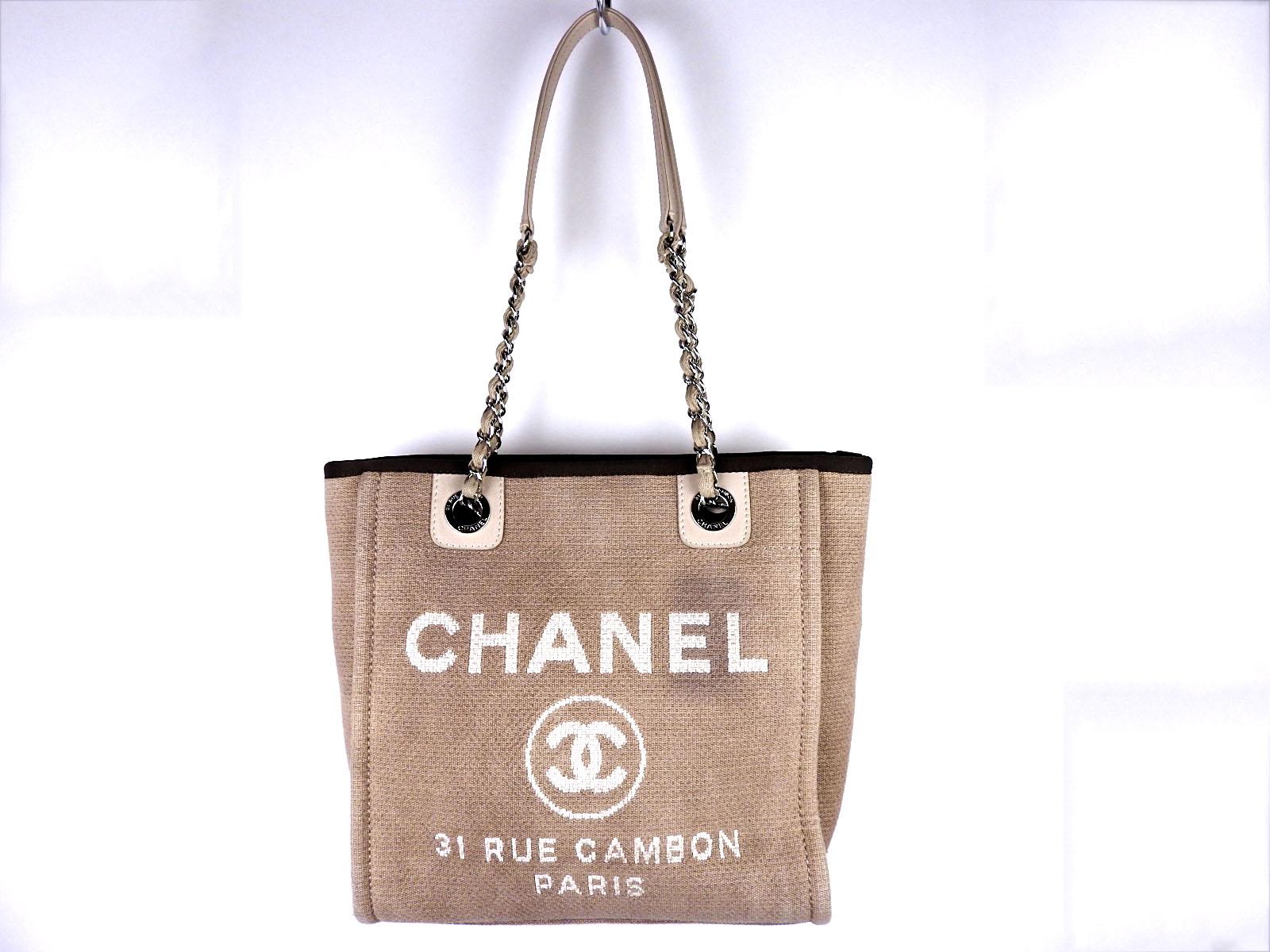 e94cd0fc5068 Auth CHANEL Deauville PM CC Chain Shoulder Tote Bag Canvas Beige A66939  A-4736