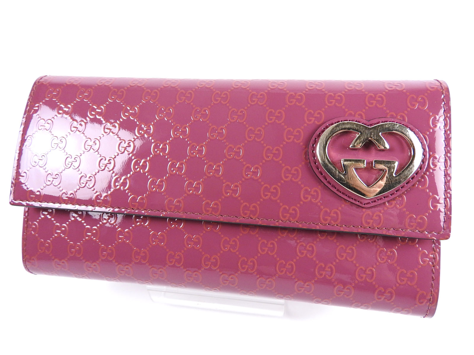 39fc45cb9bd2 GUCCI Lovely GG MICRO GUCCISSIMA Bifold Long Wallet Enamel Pink 251861  A-5216