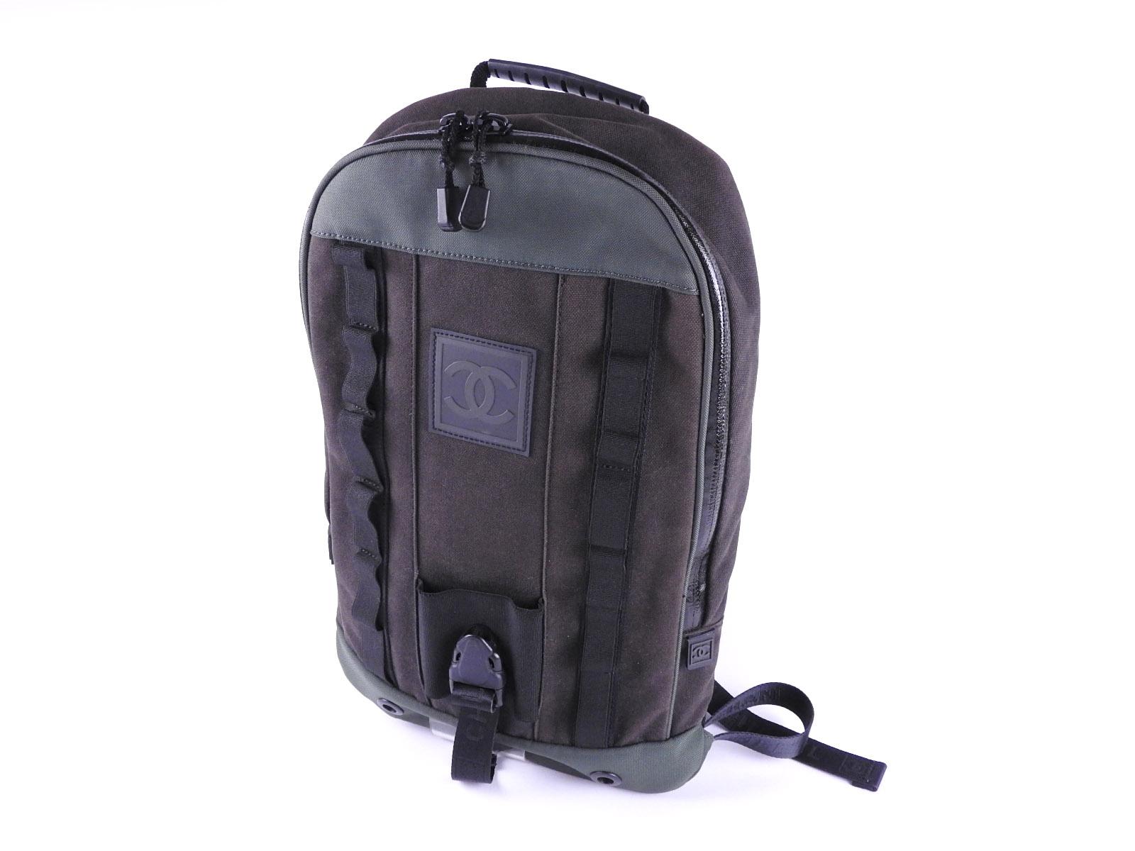 bf54a6b21 Auth CHANEL CC Sport Backpack Bag Daypack Nylon Canvas Black Green B-4518