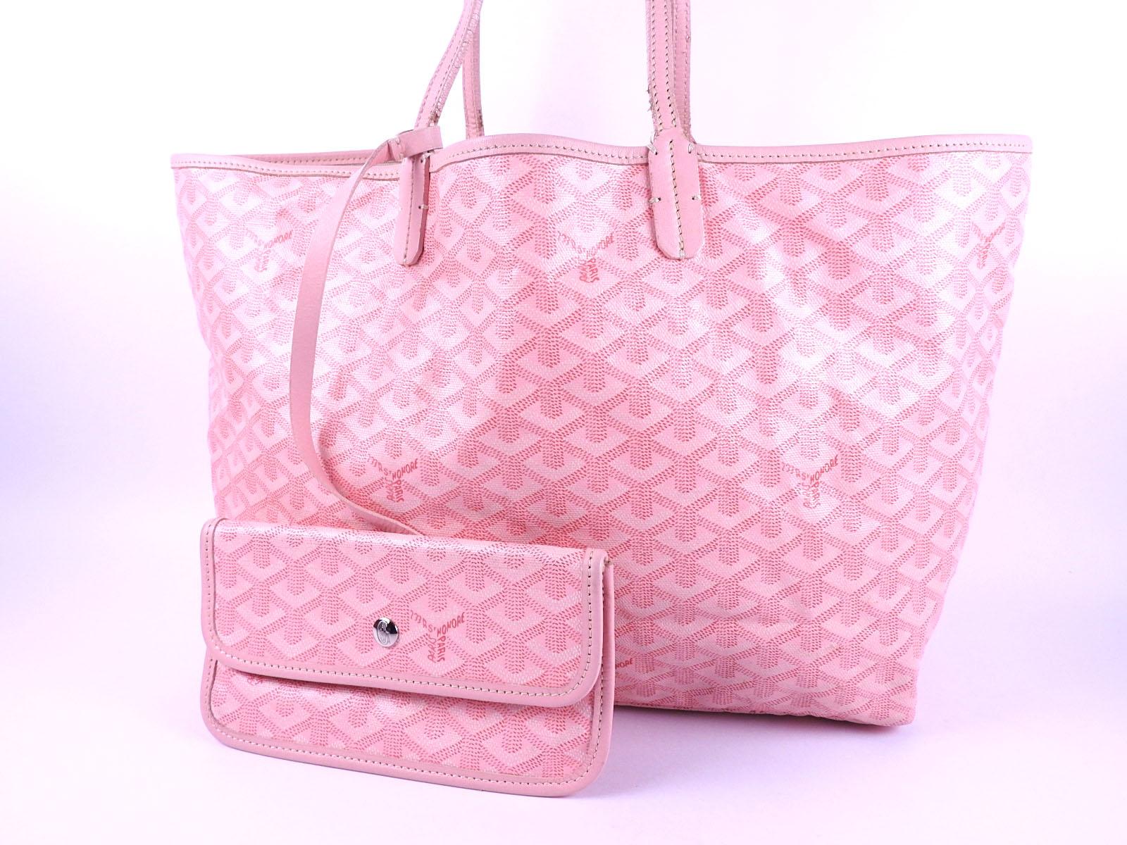 Auth GOYARD Saint Louis PM Shoulder Tote Bag PVC Canvas Leather Pink With  Pouch B-4593 a7e9abb6ef6