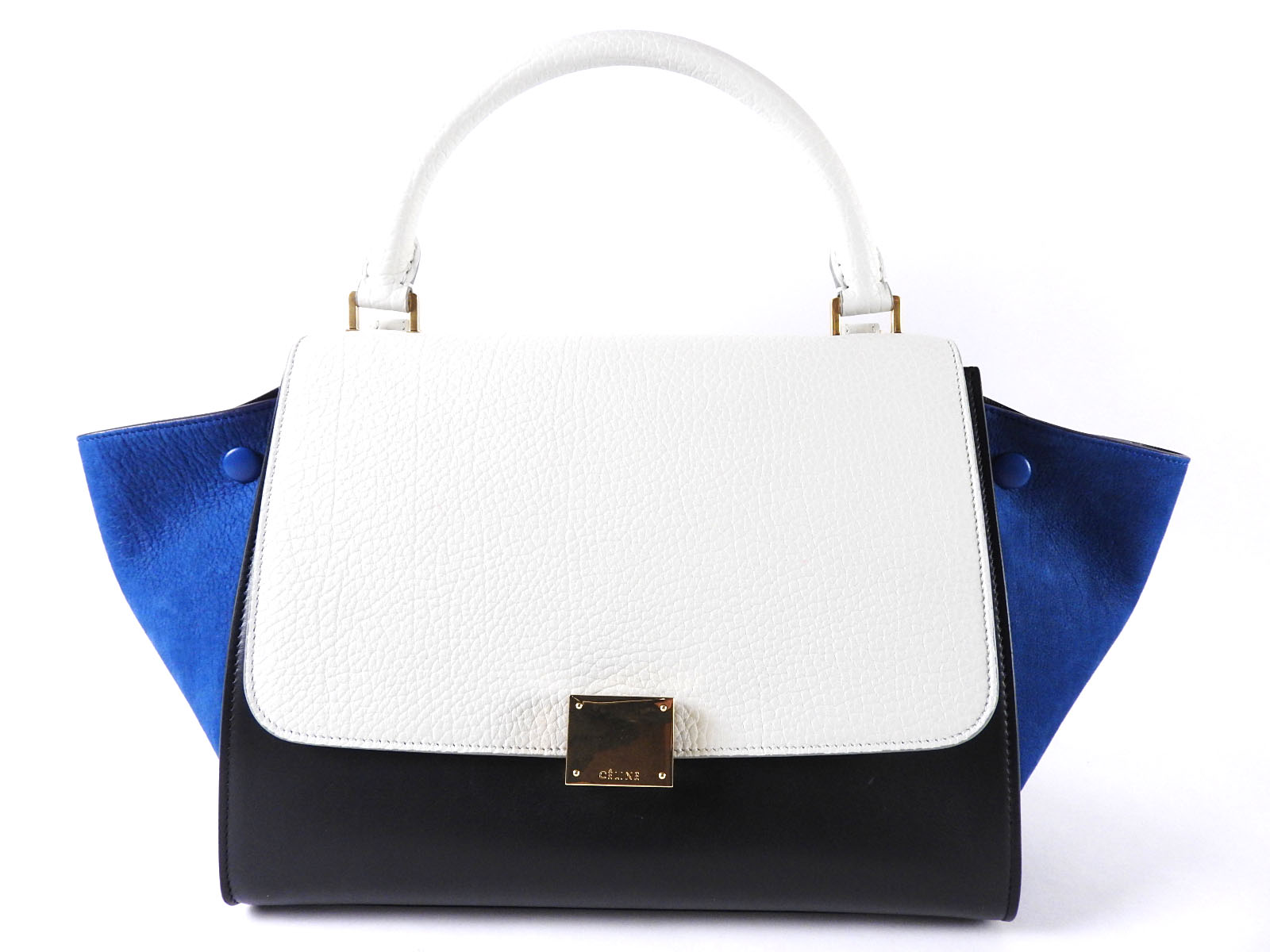 92fe5ece23 Details about CELINE Trapeze 2way Hand Bag Shoulder Bag Leather Suede  Tricolore 174683 A-5255