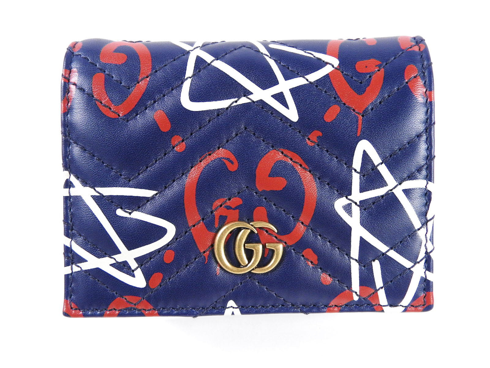 Auth gucci ghost business card case bill wallet calf leather navy auth gucci ghost business card case bill wallet calf leather navy 449421 a 6349 colourmoves