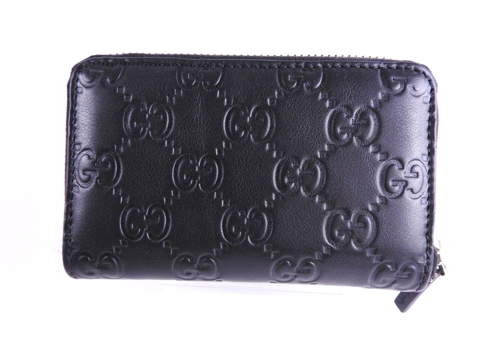 GUCCI Micro Guccissima Business Card Case Coin Purse Leather Black ...