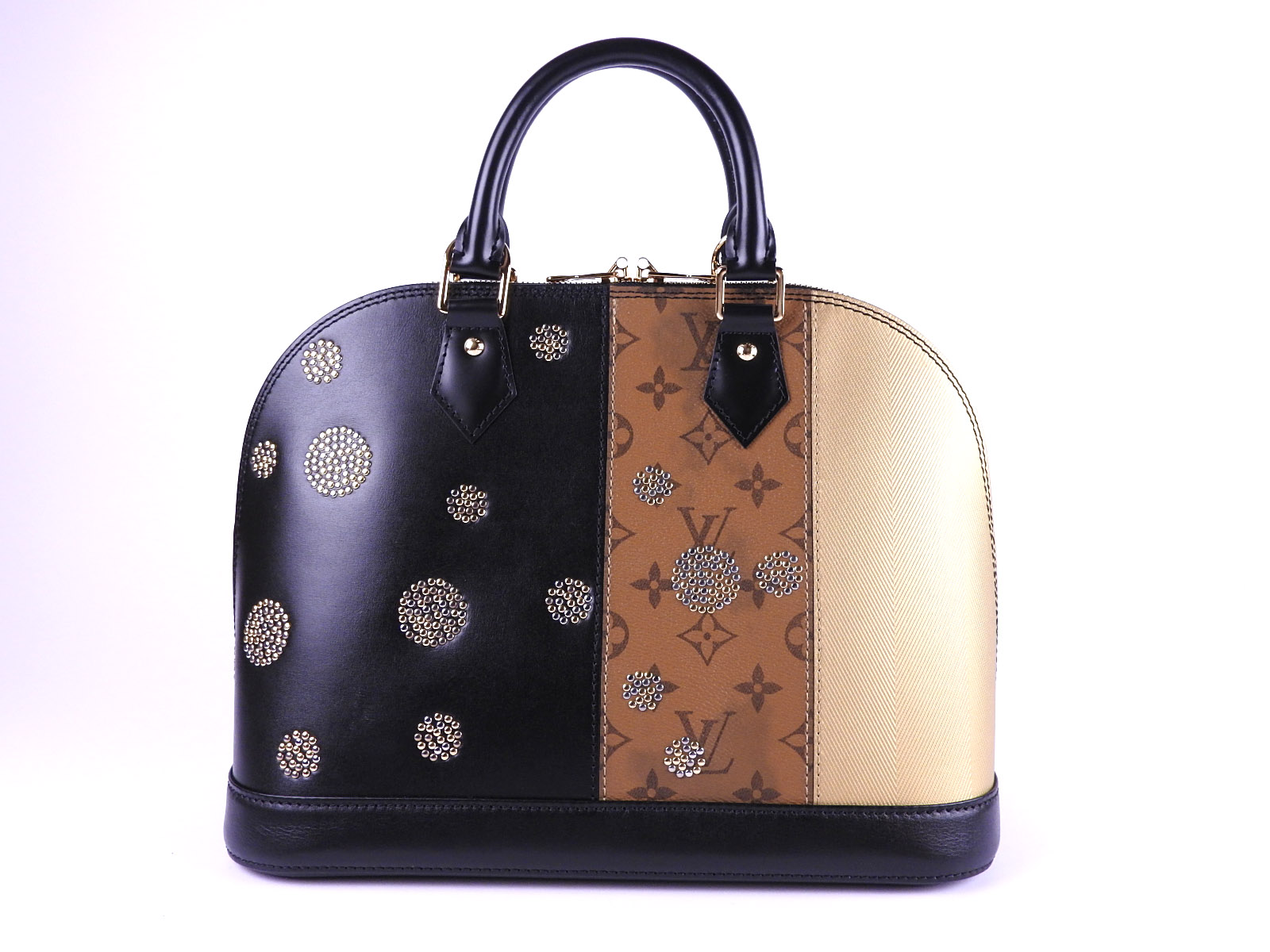 8ae5beb34b9 Auth LOUIS VUITTON Monogram Reverse Studded Alma PM Hand Bag Leather M43407  2017 Collection A-7978