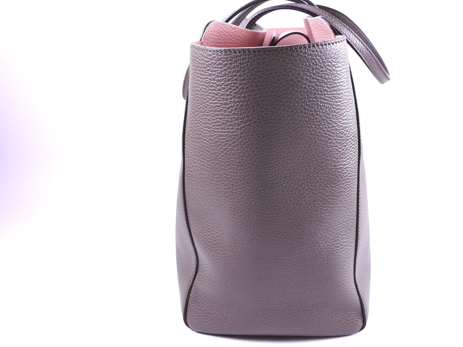 139f4bbf41ce Auth GUCCI Swing Large Tote Bag Shoulder Bag Leather Gray Pink ...