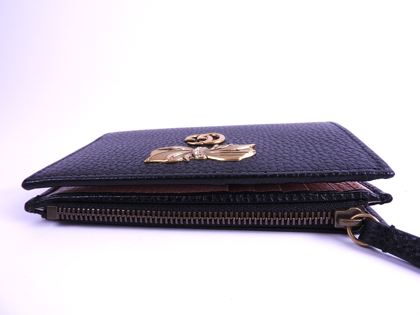 57e9468fd0a Auth GUCCI GG Marmont Rhinestone Ribbon Bifold Wallet Leather Black ...