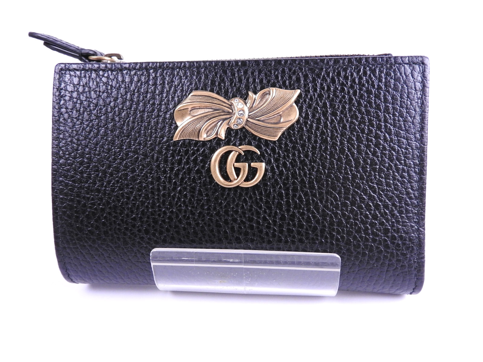 6b67cbf4619 Auth GUCCI Unused GG Marmont Rhinestone Ribbon Bifold Wallet Leather Black  Gold 524300 A-8139