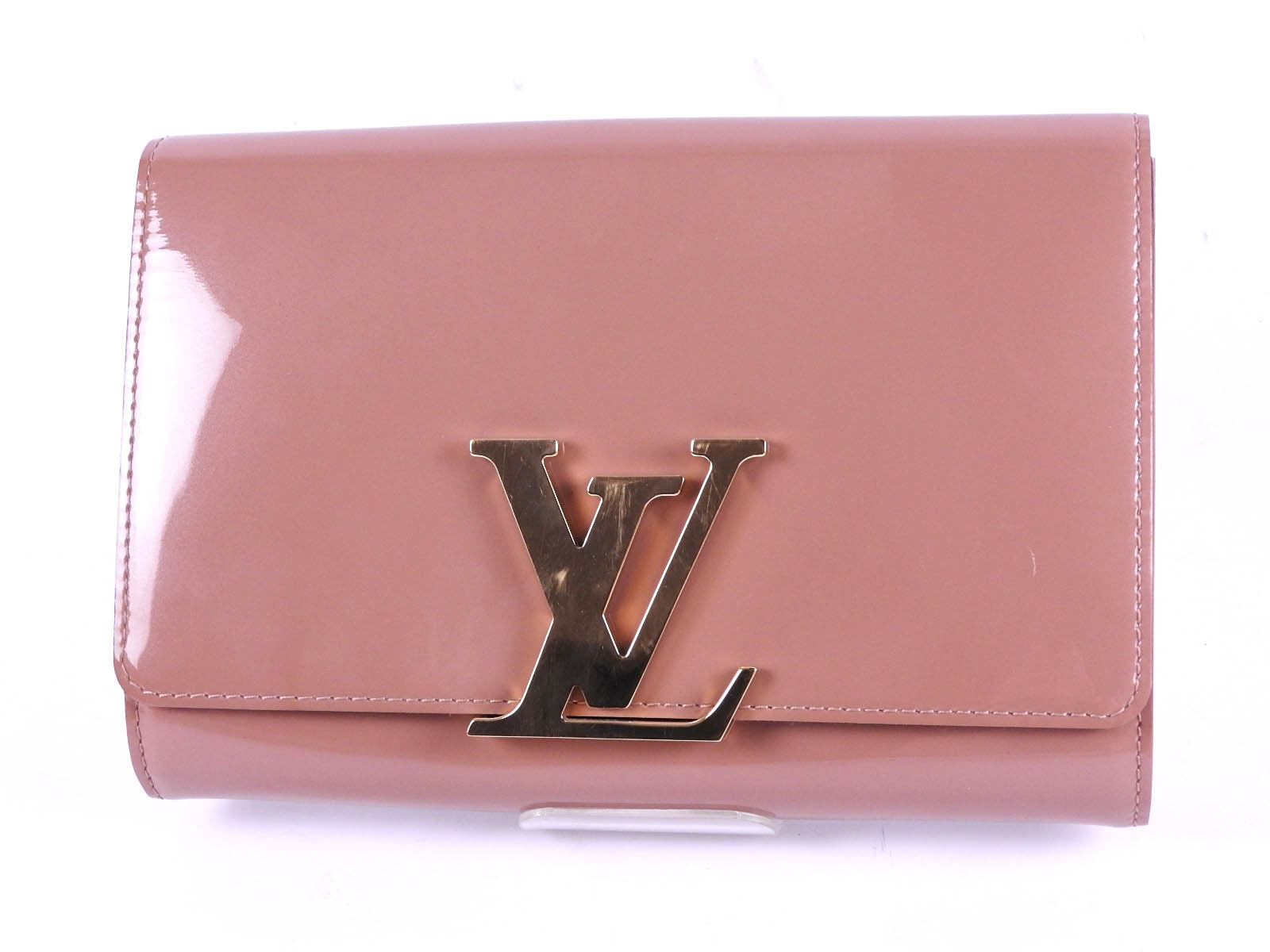 edd7d43a3f4d Auth LOUIS VUITTON Vernis Pochette Louise EW Clutch Hand Bag Rose Velours  Patent Leather Gold M90198 A-8394