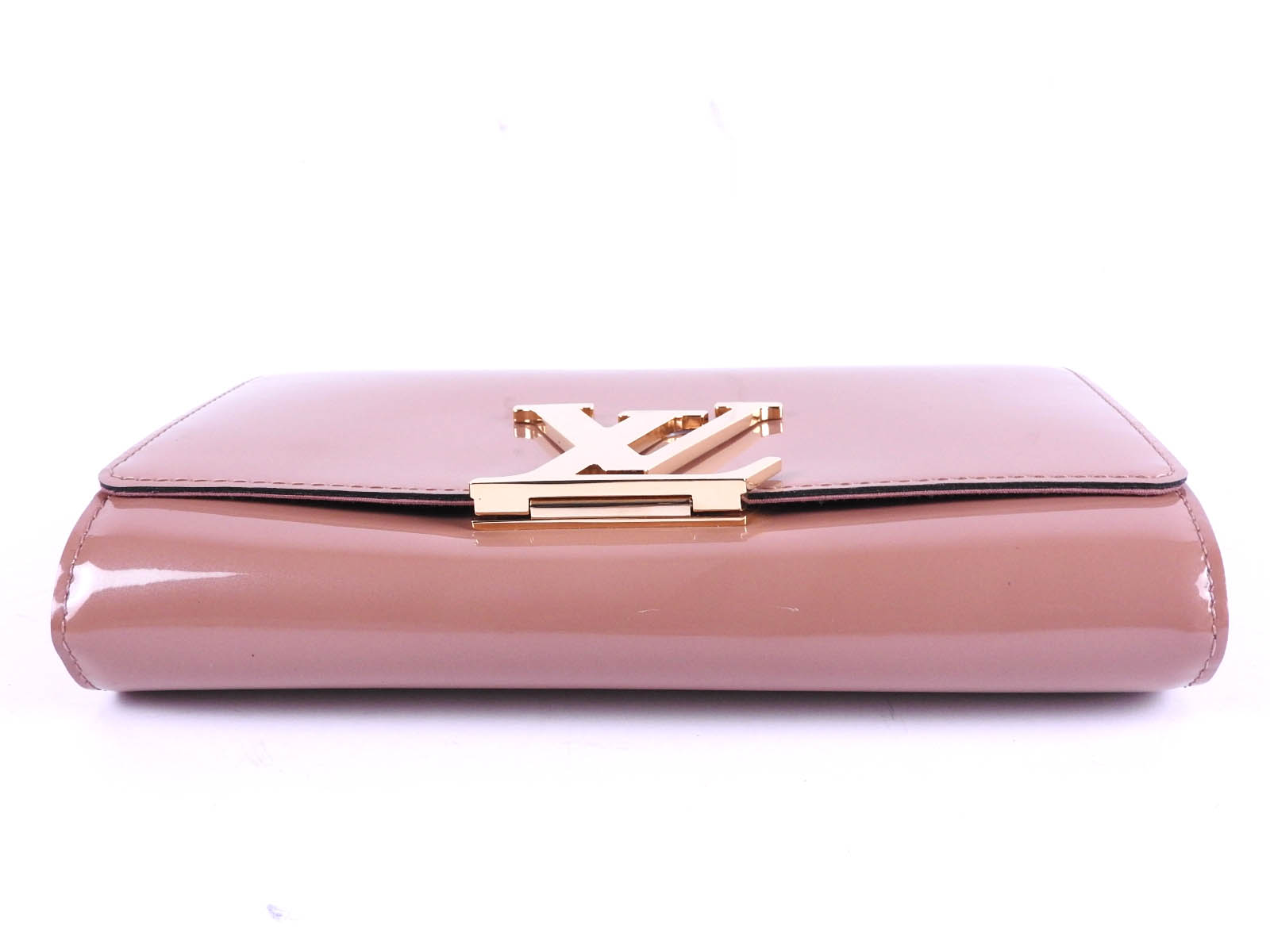 81500e488ee5 Auth LOUIS VUITTON Vernis Pochette Louise EW Clutch Bag Rose Velours ...