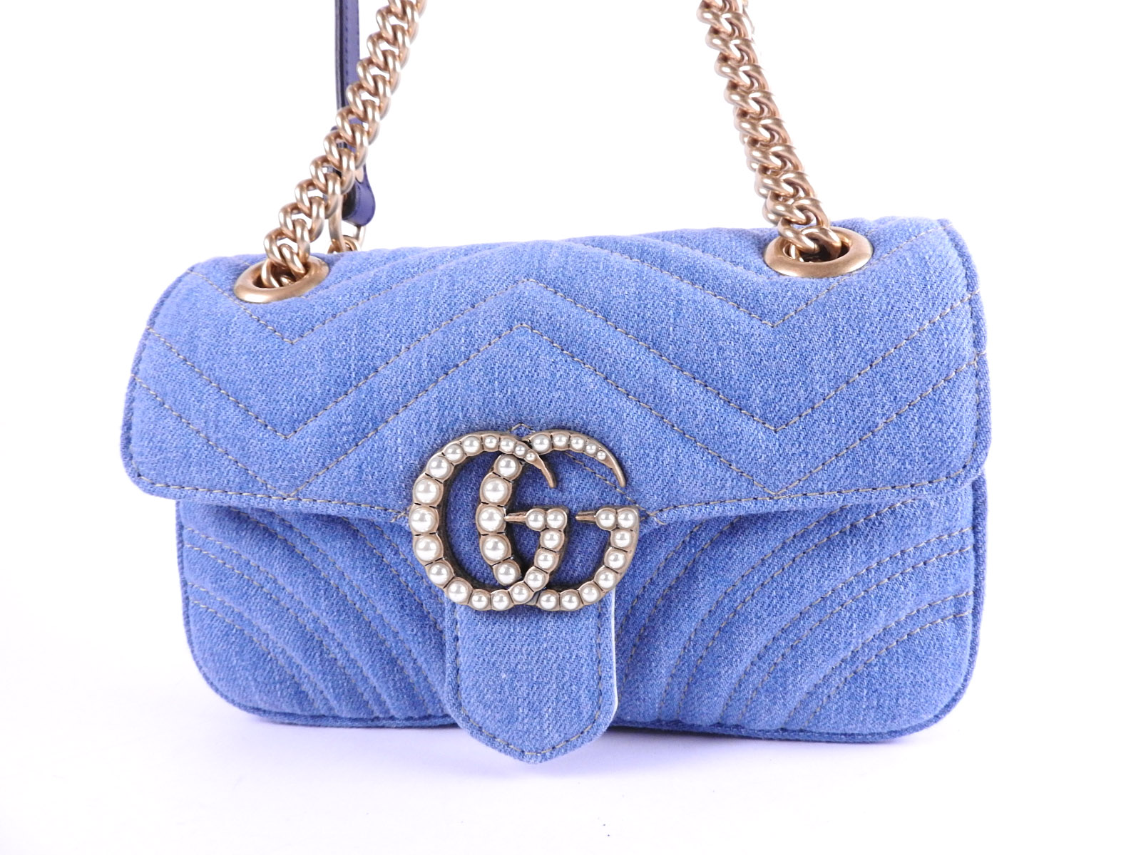07be8ab11269 Auth GUCCI Japan Limited GG Marmont Chain Shoulder Bag Blue Chevron  Quilting Denim Gold 446744 A-8397