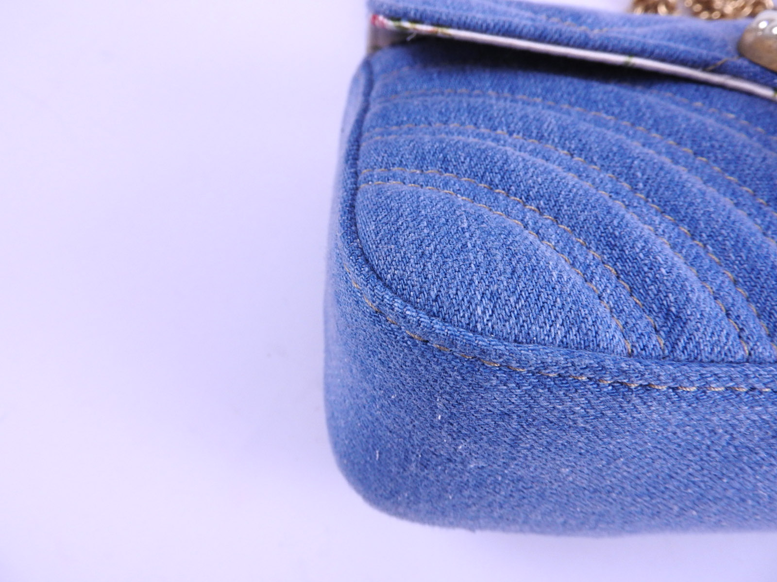 f0258cc90c3 Auth GUCCI GG Marmont Chain Shoulder Bag Blue Chevron Quilting Denim ...