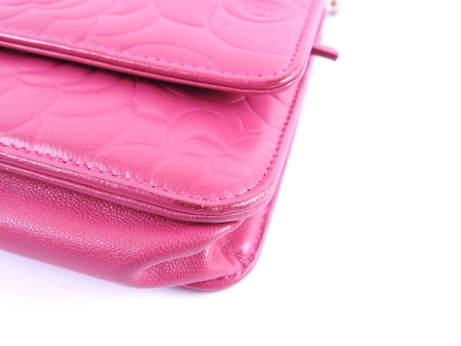 08085cc8d212 CHANEL CC Camellia Embossed Chain Wallet Shoulder Bag Lambskin Pink ...