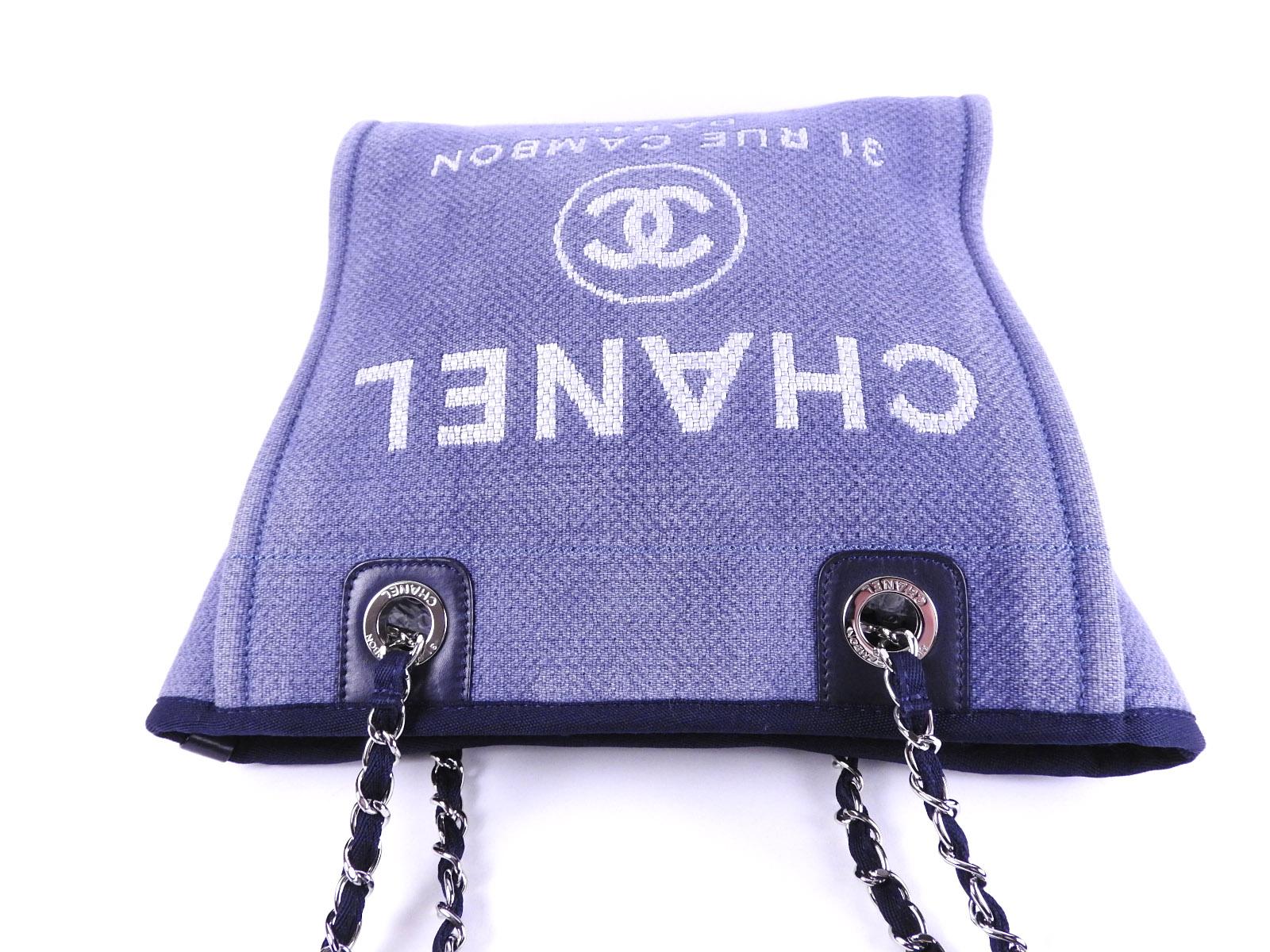 3f78b126e31d6f CHANEL Deauville PM Chain Shoulder Tote Bag Denim Canvas Blue Silver ...
