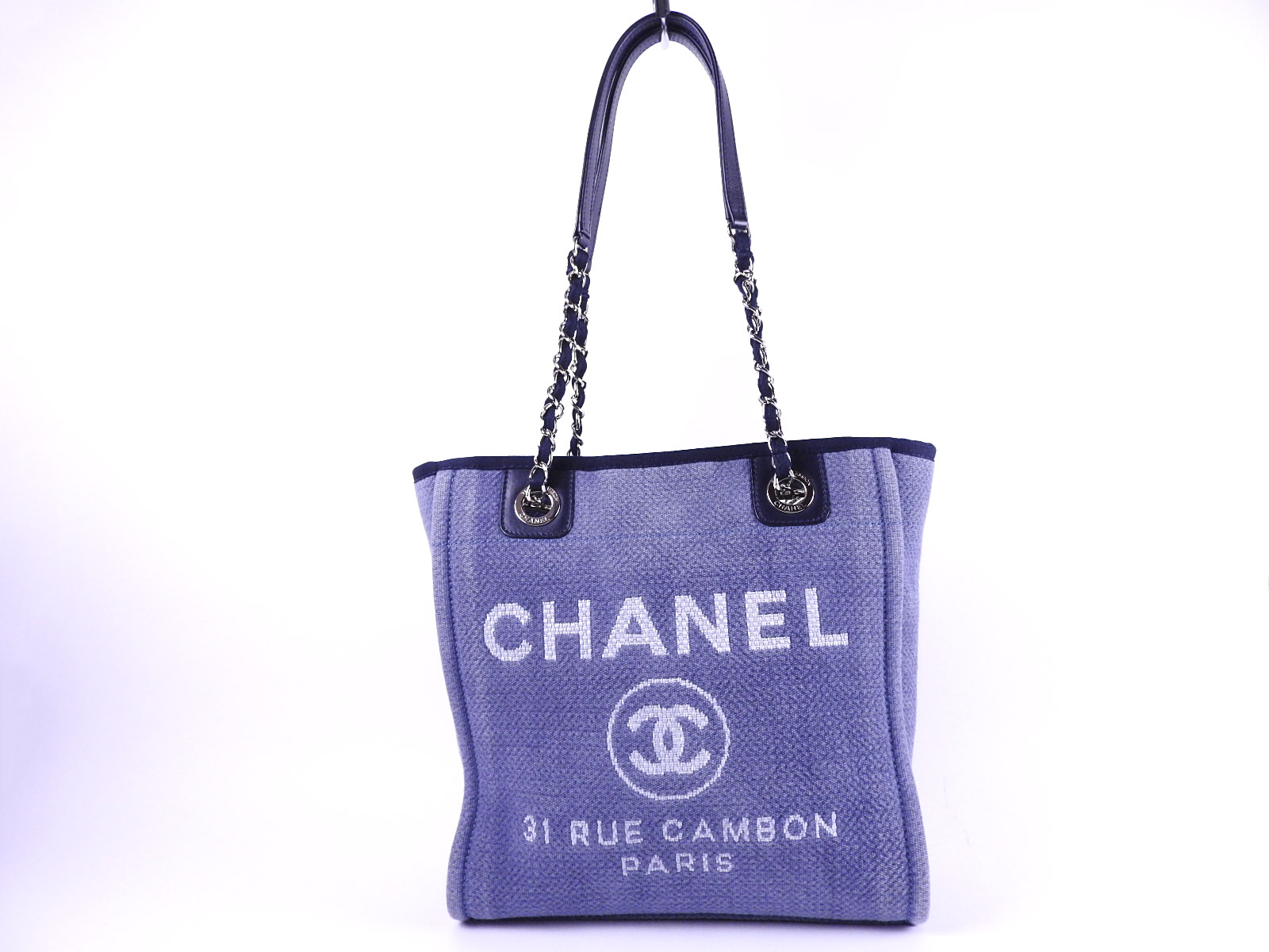 eb41151a0ba9 Auth CHANEL Deauville PM Chain Shoulder Tote Bag Denim Canvas Blue Silver  A66939 A-8449