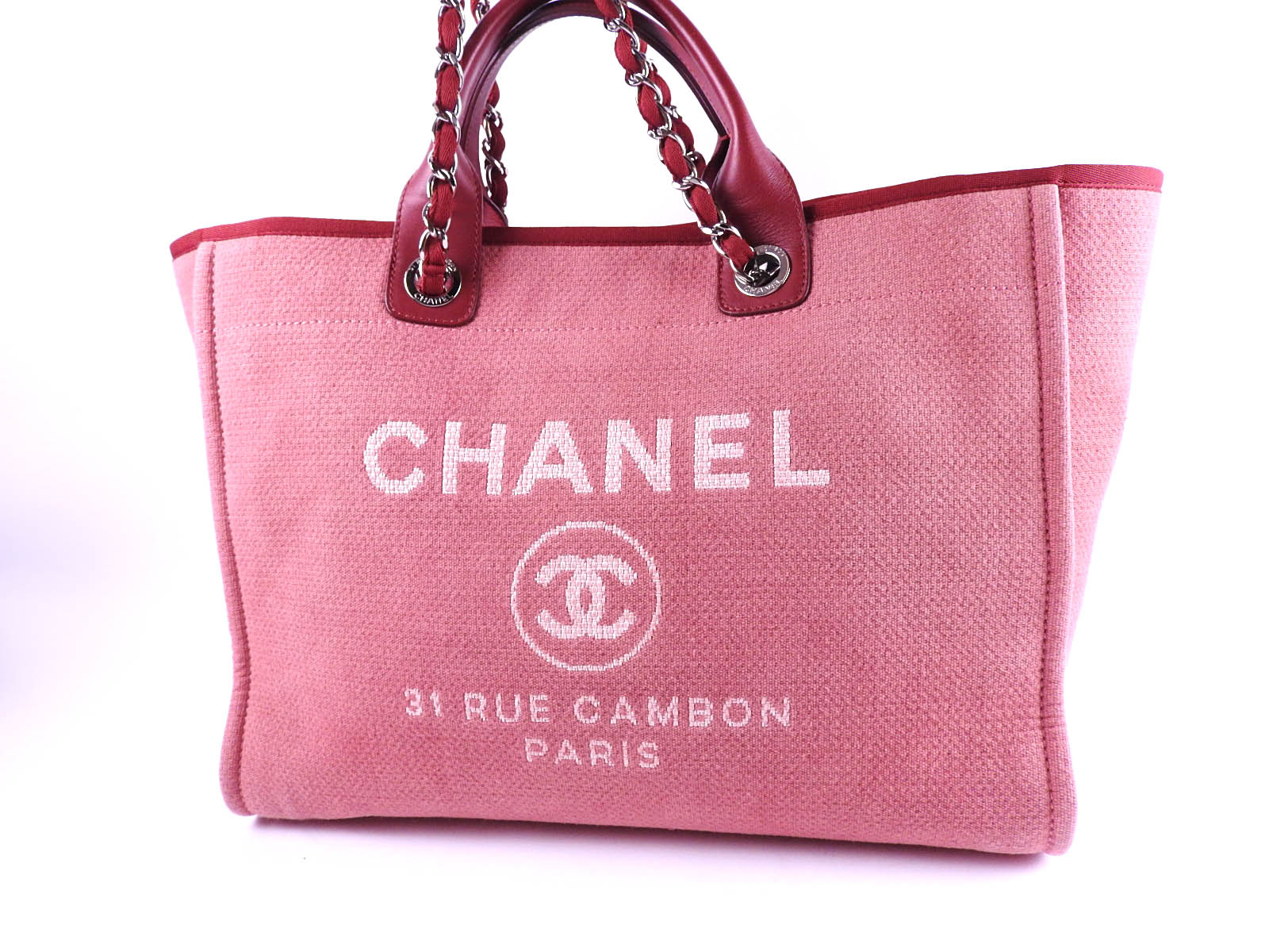 29b97d59e732 Auth CHANEL Deauville 2way Chain Shoulder Tote Bag Canvas Red White A66941  A-8480