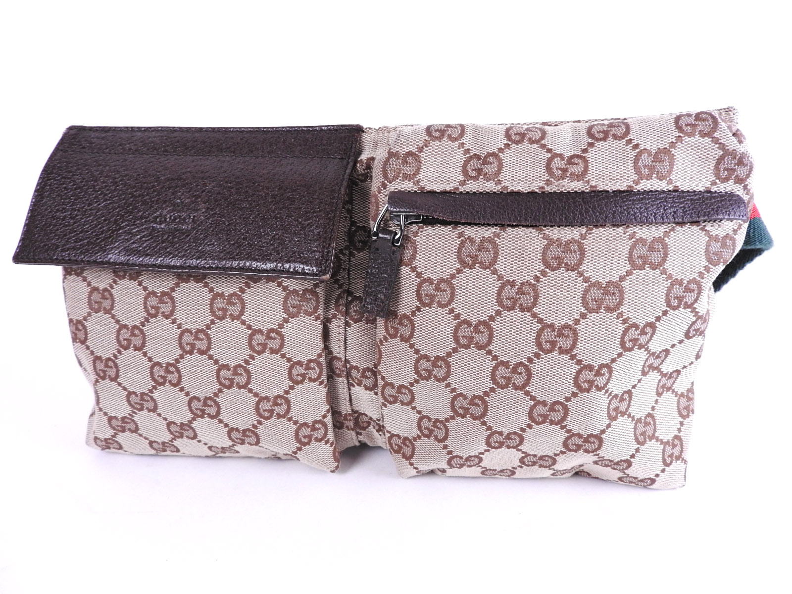 a47474965eb Auth GUCCI Sherry Web GG Canvas Leather Waist Belt Pouch Body Bag Beige  Brown 28566 A-8513