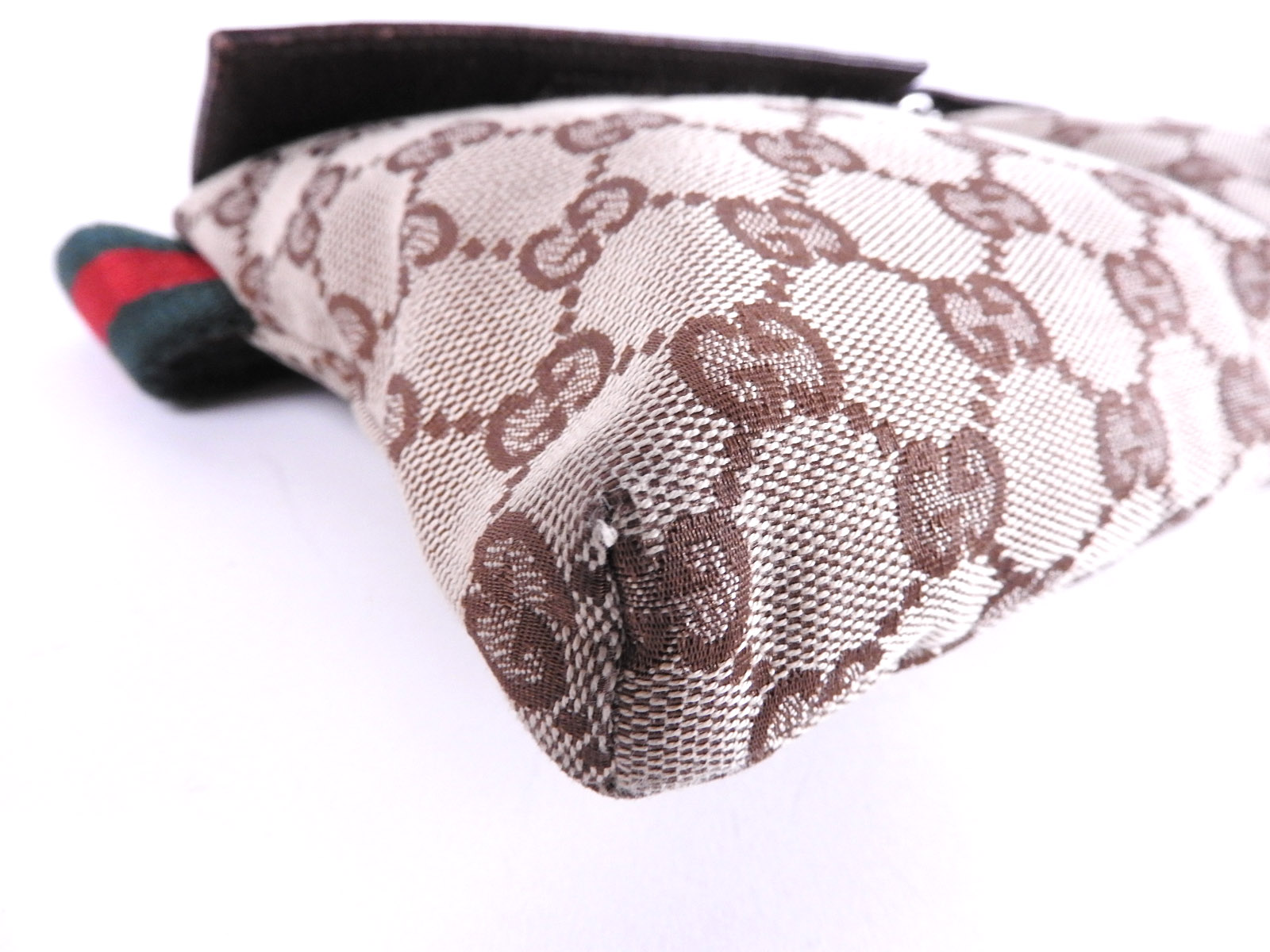 24341dc69bf Auth GUCCI GG Canvas Leather Waist Belt Pouch Body Bag Beige Brown ...