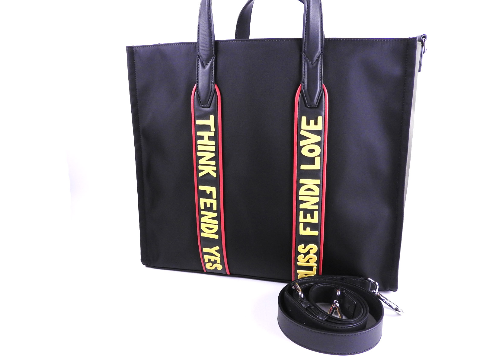 017b509922 Auth FENDI Vocabulary 2way Tote Bag Shoulder Bag Nylon Leather Black 7VA390  8583