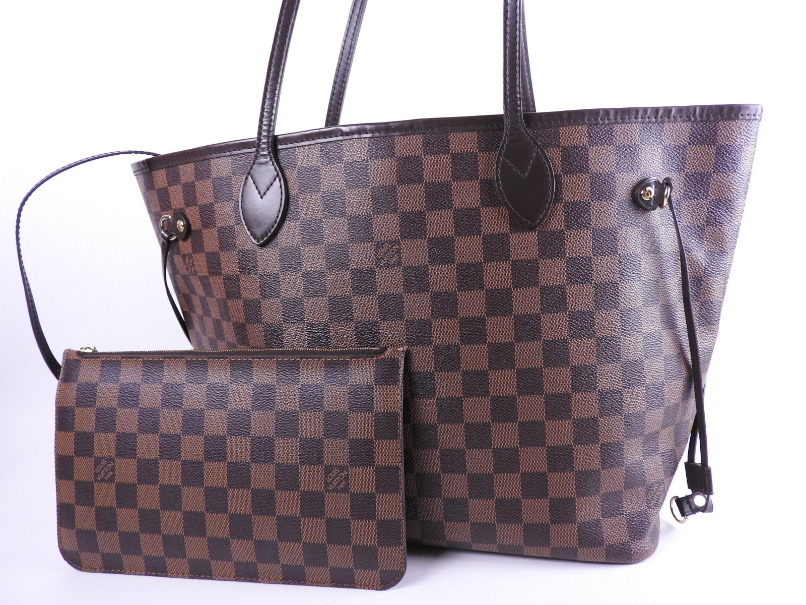 90b2a55759eb Auth LOUIS VUITTON Neverfull MM Damier Ebene Shoulder Tote Bag With Pouch  N41358 A-8602