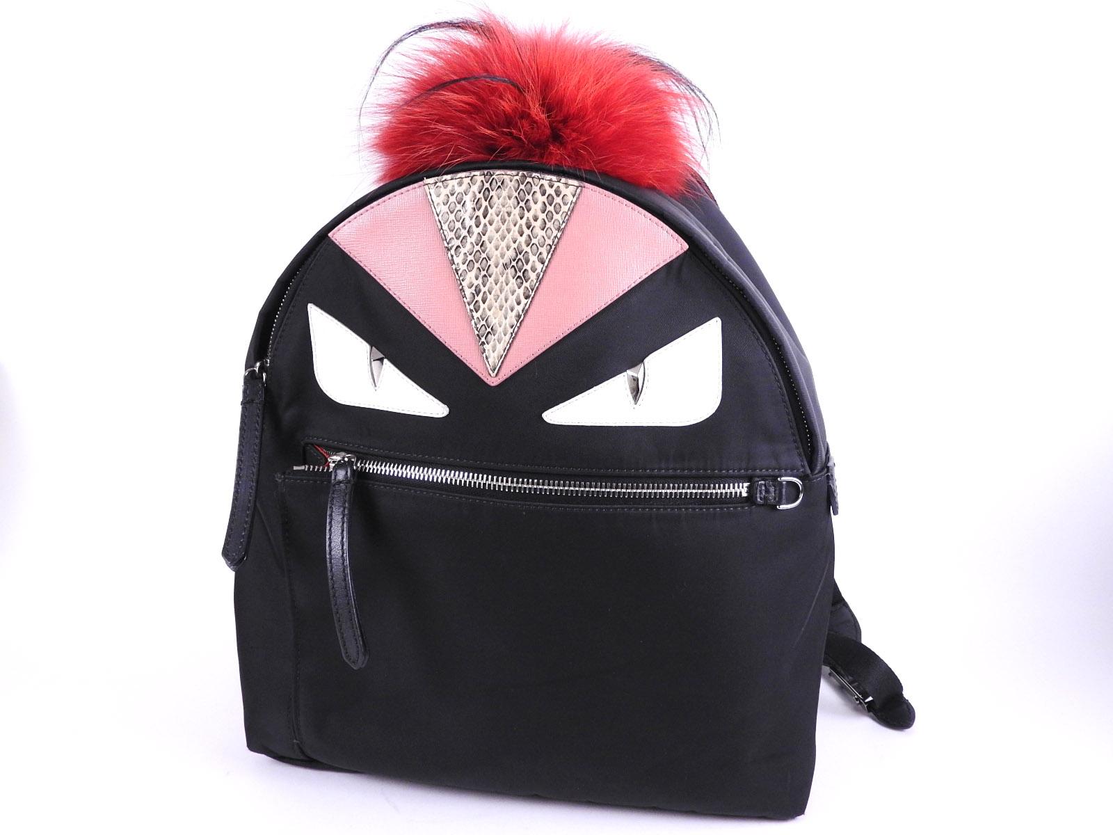 add5176101ec Auth FENDI Bugs Monster Eye Backpack Bag Nylon Leather Fur Black Red 8BZ035  A-8604
