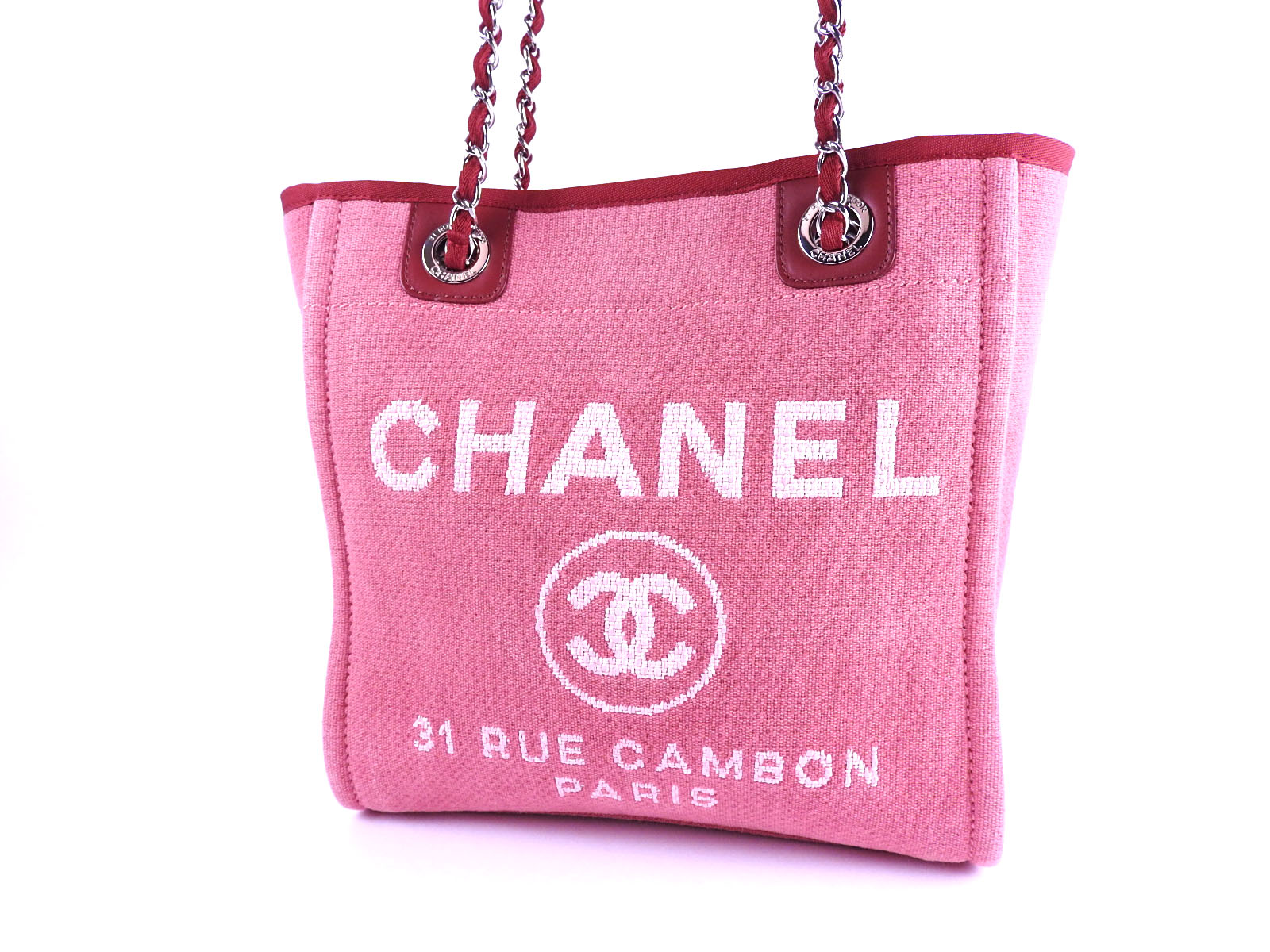 5926f7b9b0f6 Auth CHANEL Deauville PM Chain Shoulder Tote Bag Canvas Red Silver ...