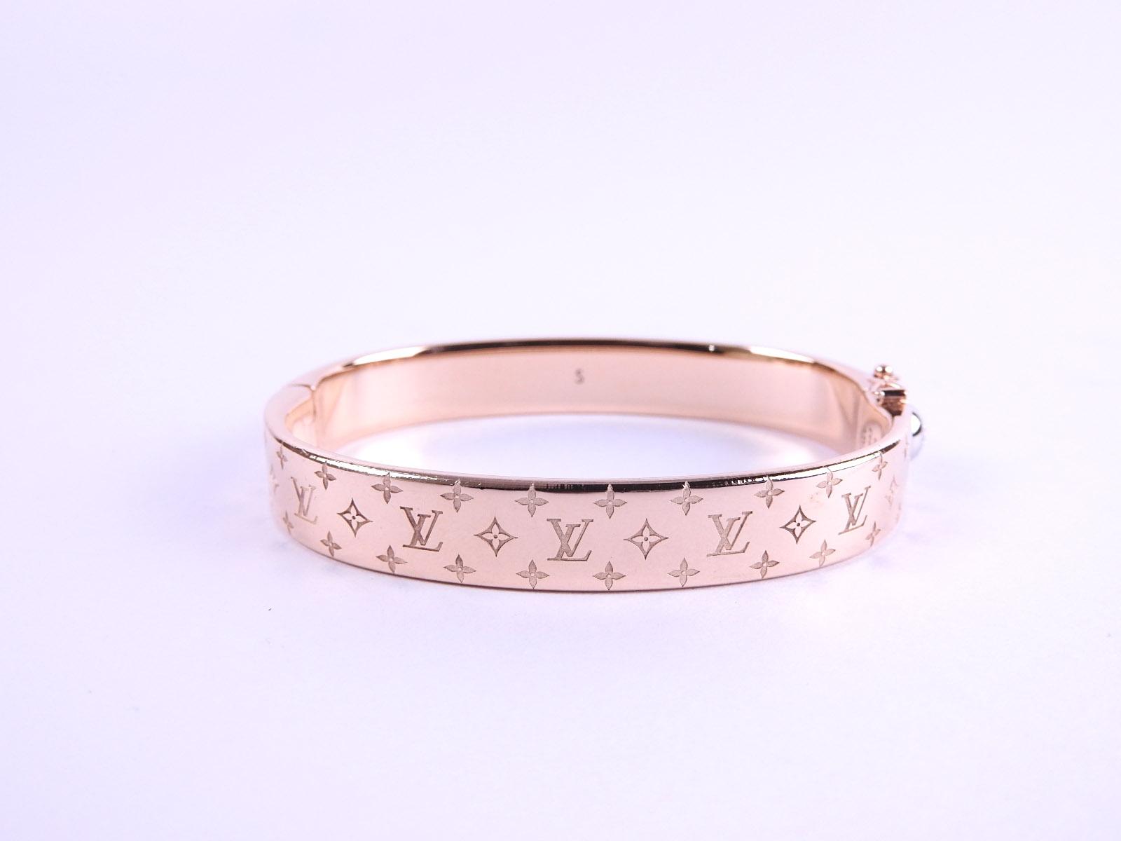 Auth Louis Vuitton Cuff Nanogram Monogram Bangle Bracelet