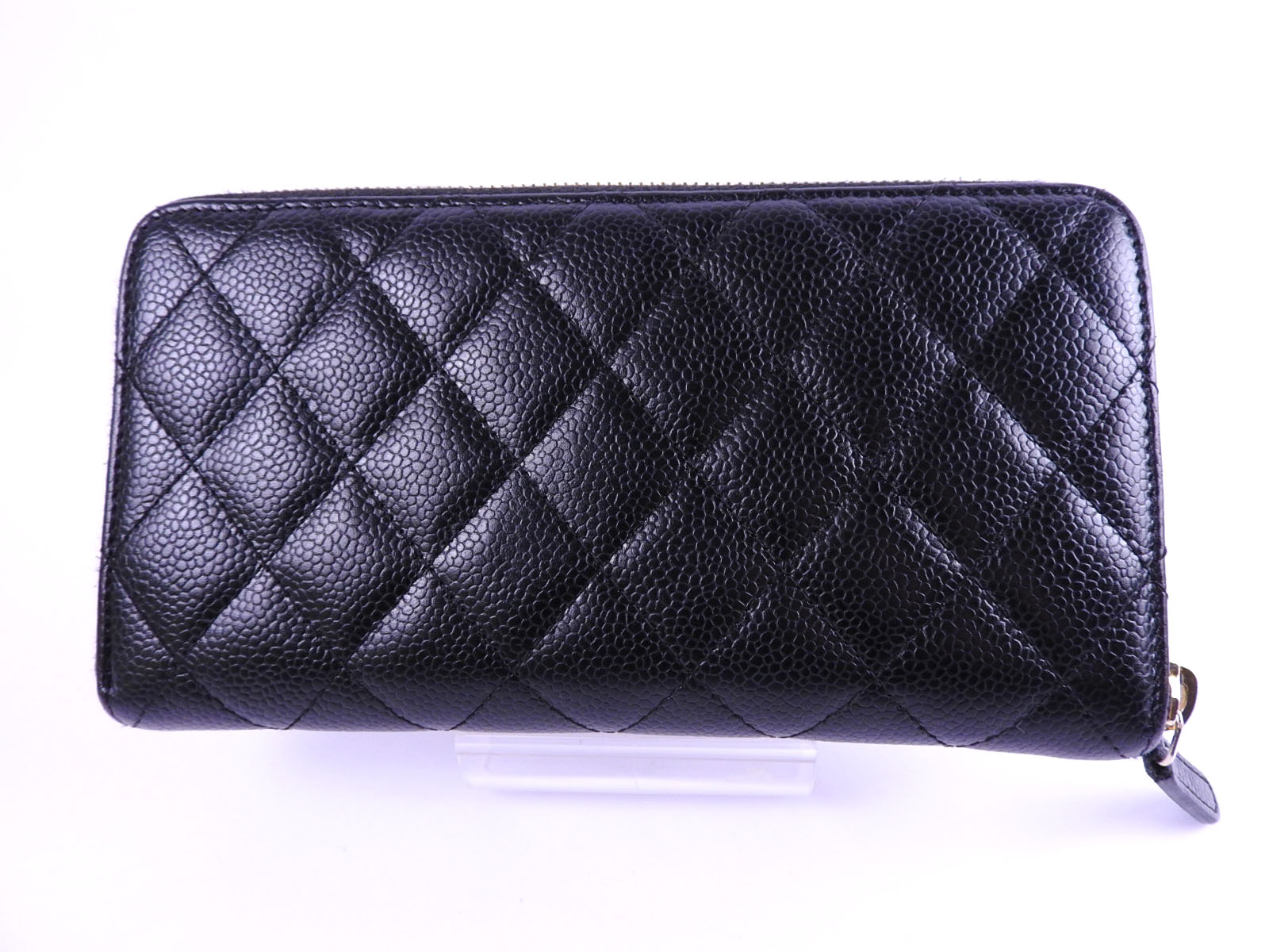 e3084579ca41 Details about Auth CHANEL CC Matelasse Zip Around Long Wallet Caviar Skin  Black A50097 A-8796