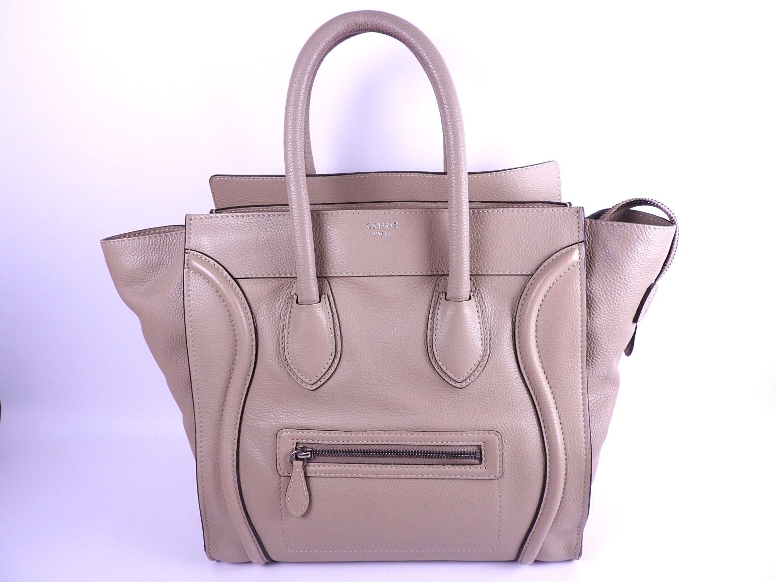 Details about CELINE Luggage Mini Shopper Tote Hand Bag Calf Leather Dune  Beige 165213 A-8858 052ab0517bdec