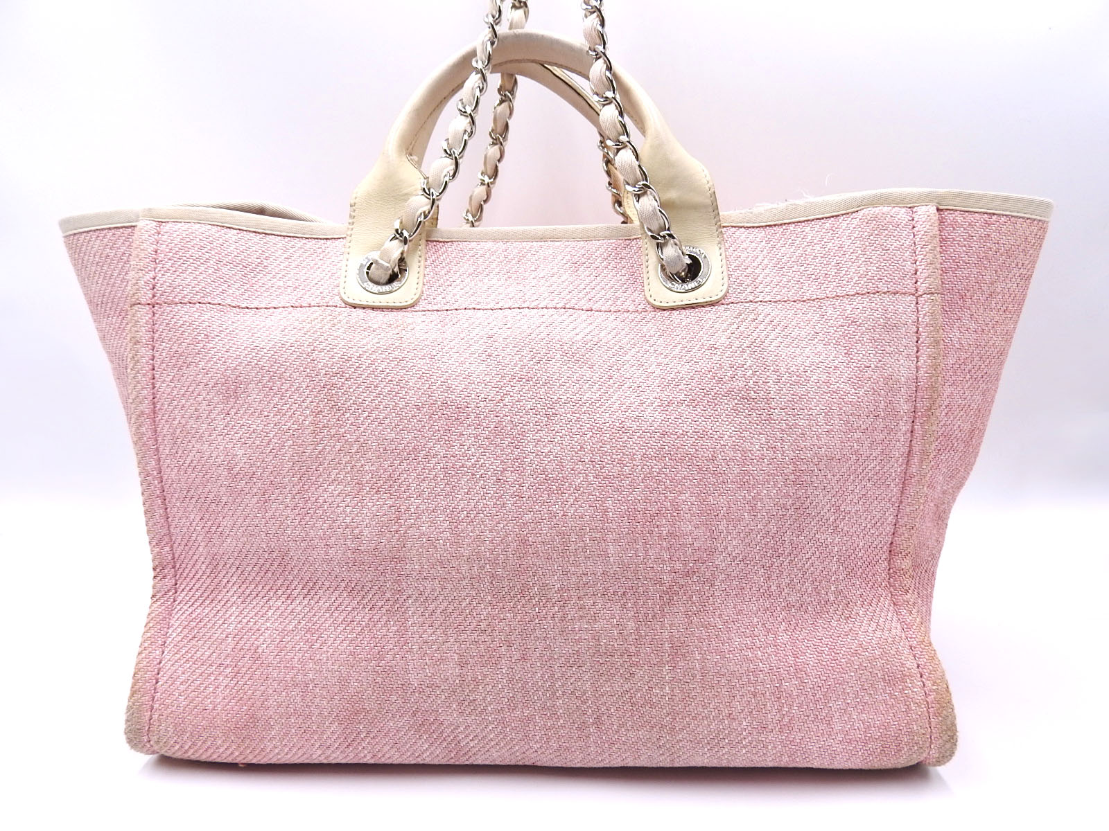 cb794bf20bb1 Auth CHANEL Deauville 2way Chain Shoulder Tote Bag Straw Canvas Pink ...
