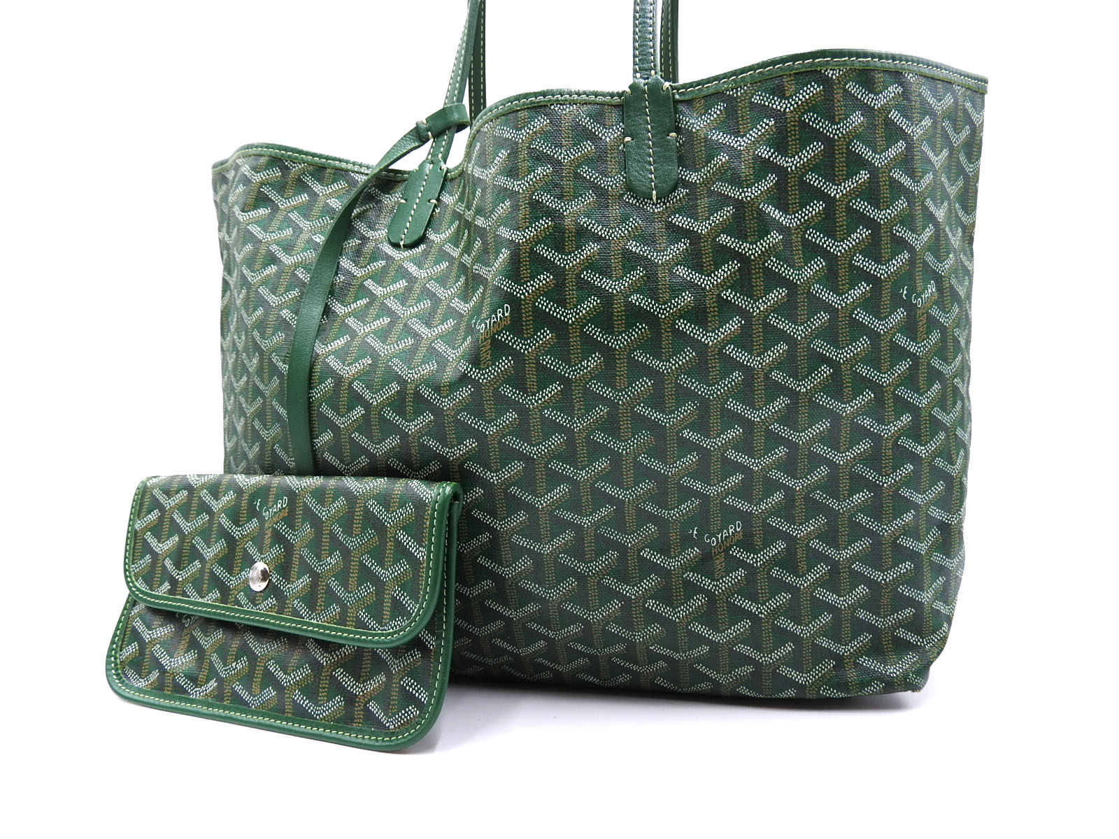 855811d2336d Auth GOYARD Saint Louis PM Shoulder Tote Bag PVC Canvas Leather Green With  Pouch A-8901