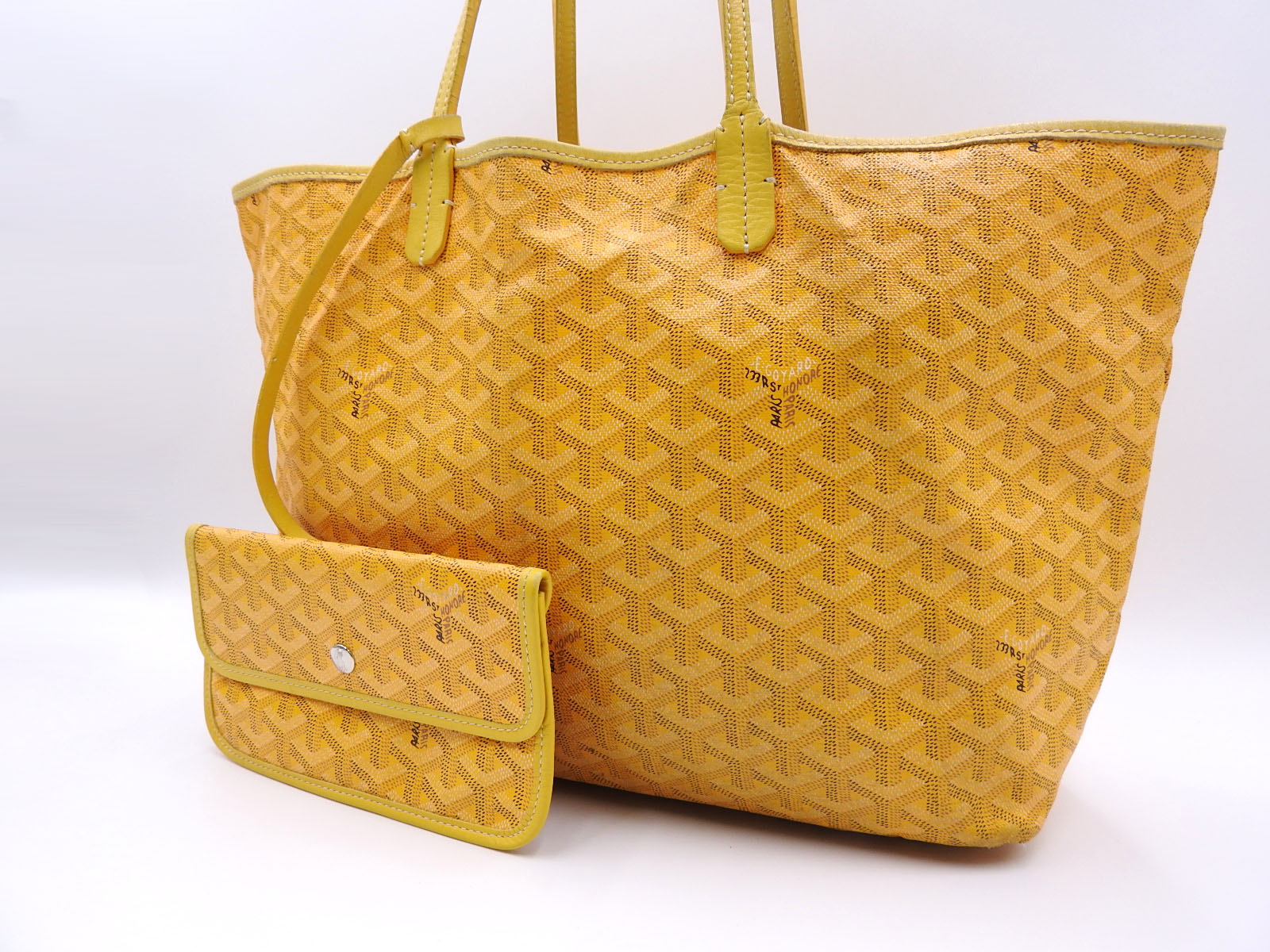Auth GOYARD Saint Louis PM Shoulder Tote Bag PVC Canvas Leather Yellow With  Pouch A-8941 4f47742b652