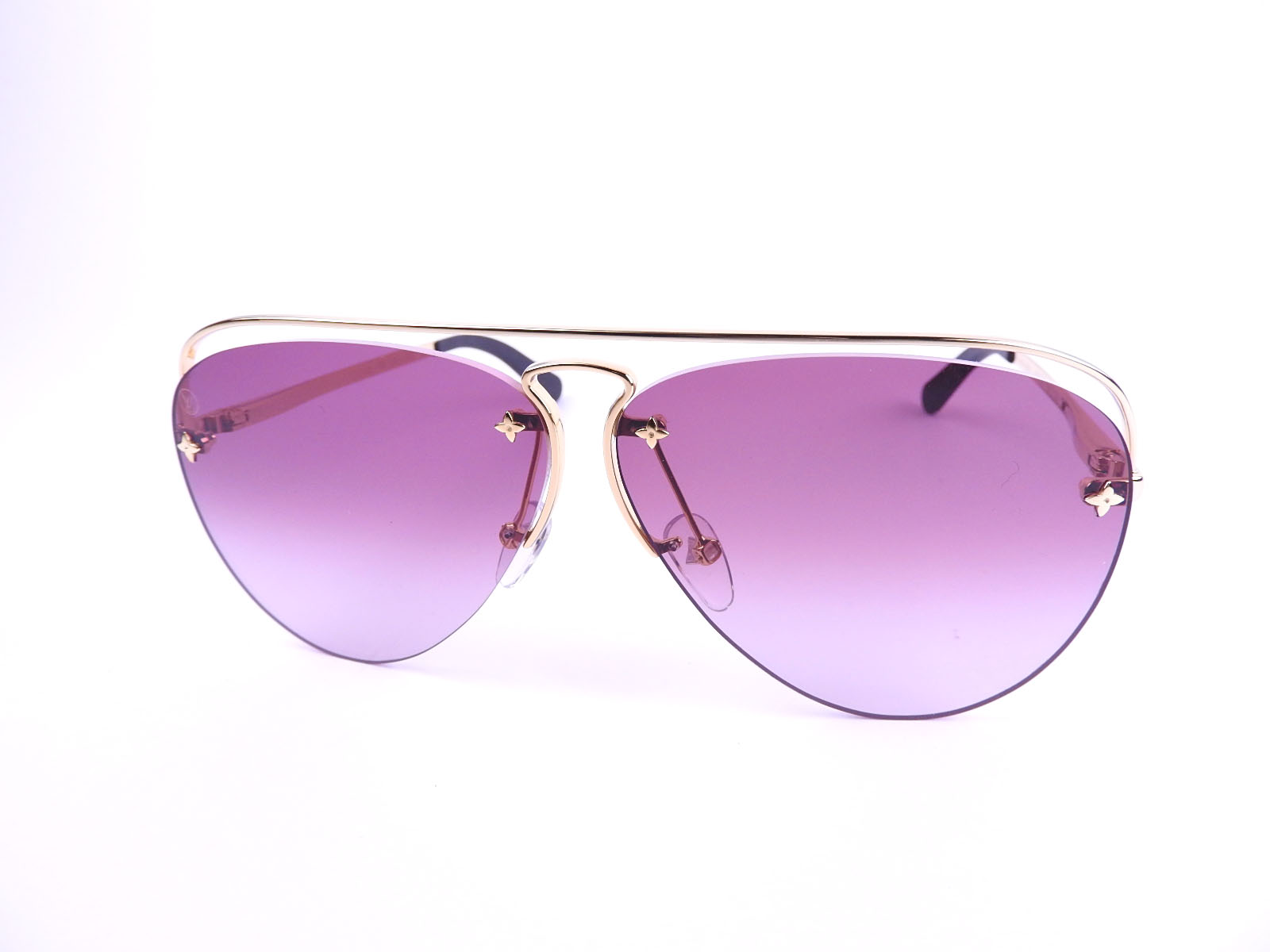 25135444f4 Auth LOUIS VUITTON Grease Aubergine Women s Sunglasses Z1044E GP Gold Pink  2018 Year A-8968