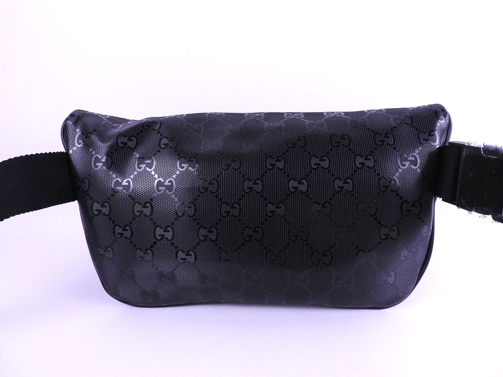 e9e4b123c519 Auth GUCCI GG Imprime Waist Belt Pouch Body Bag PVC Leather Black ...