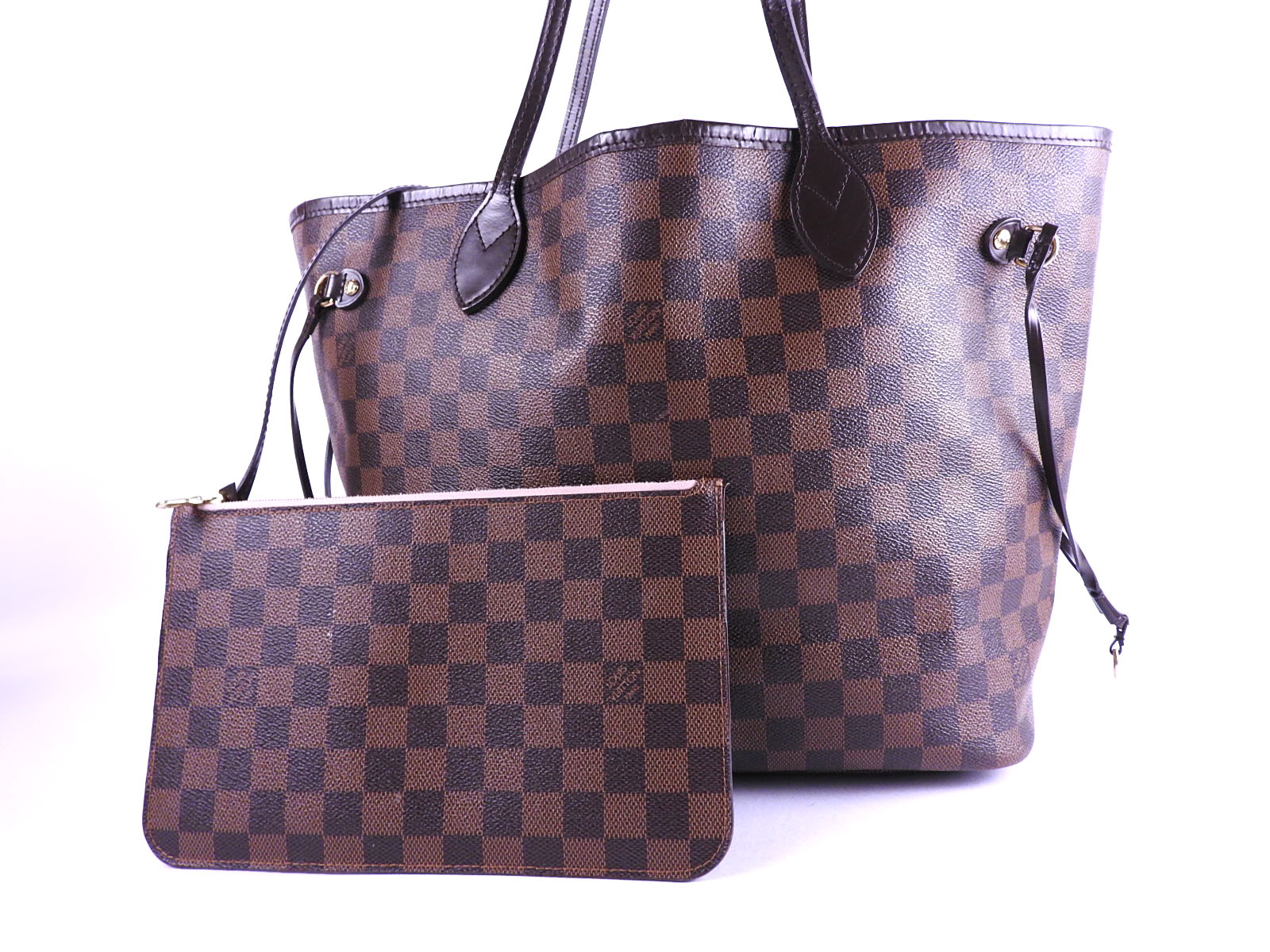 Auth LOUIS VUITTON Neverfull MM Damier Ebene Shoulder Tote Bag With Pouch  Rose Ballerine N41603 A-9132 5dfdfa3ea6638