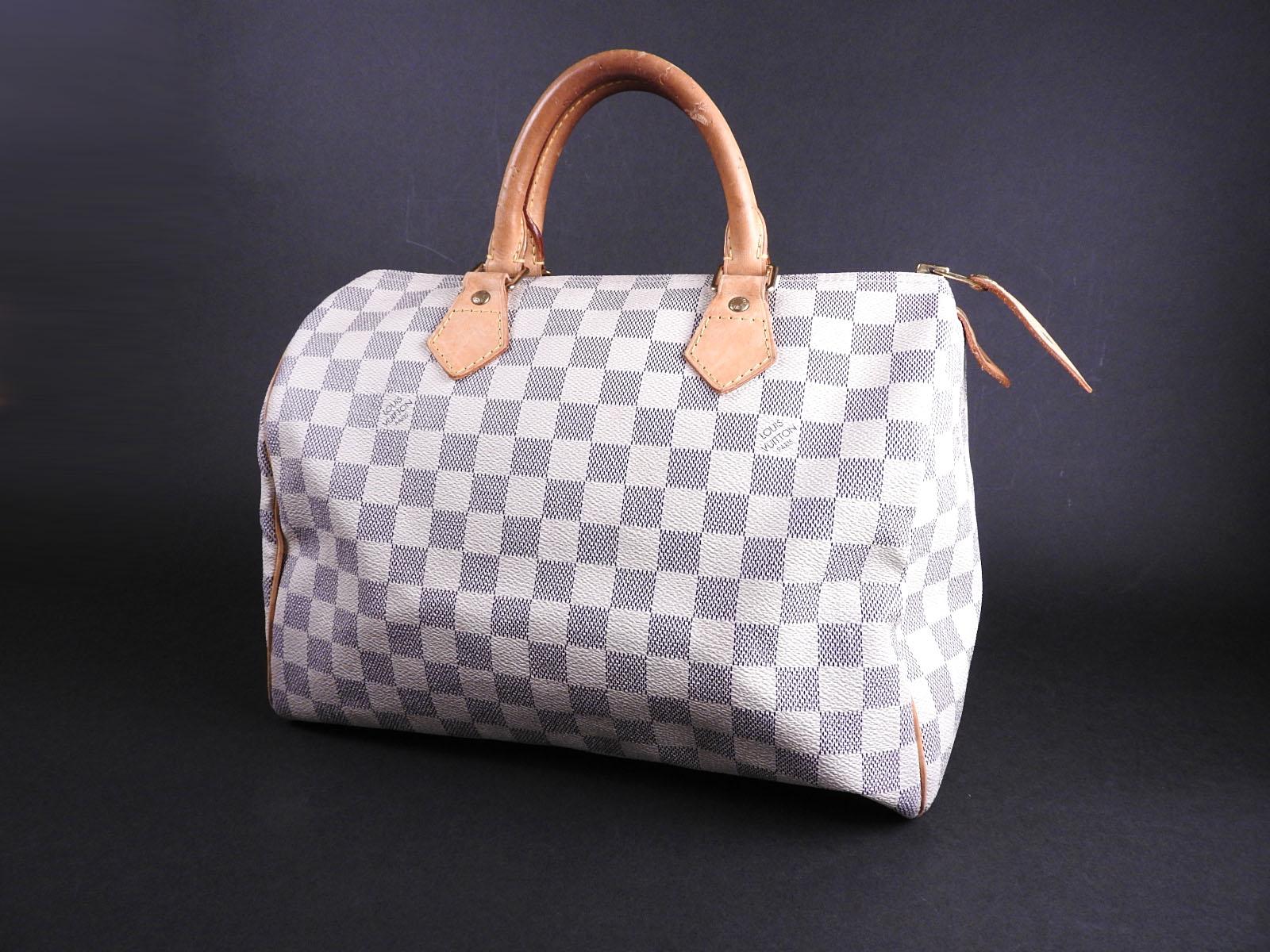 e8a632b9c316 Auth LOUIS VUITTON Speedy 30 Damier Azur Hand Bag Boston Bag N41533 A-9222