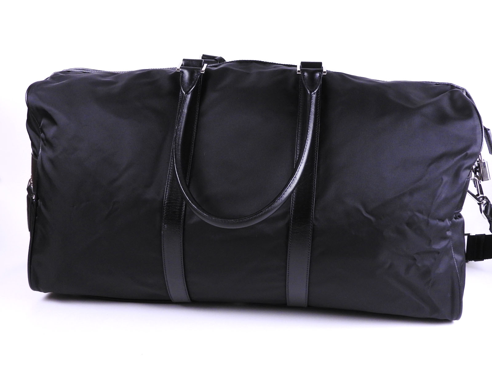 8e8ba0991fab PRADA Tessuto Nylon Saffiano Leather 2way Boston Travel Bag Black ...