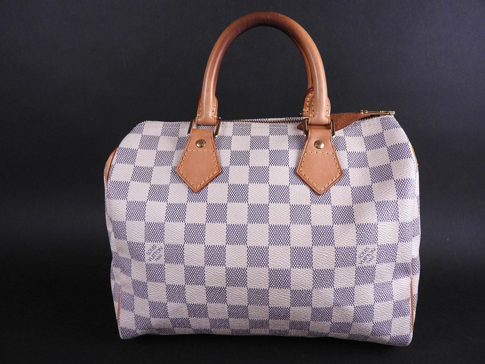 241051fef376 Details about Authentic LOUIS VUITTON Speedy 25 Damier Azur Hand Bag Boston  Bag N41534 A-9246
