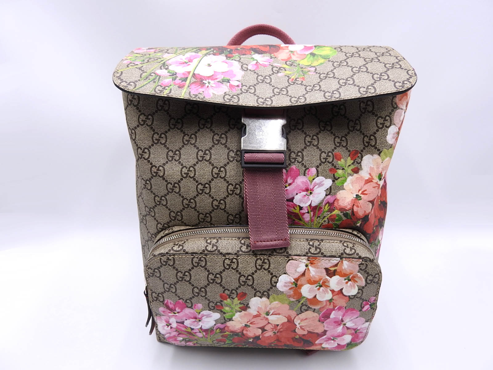 0c3ecc78267b13 Details about Auth GUCCI GG Blooms Supreme Backpack Bag PVC Leather Pink  Red Beige 405019 9356