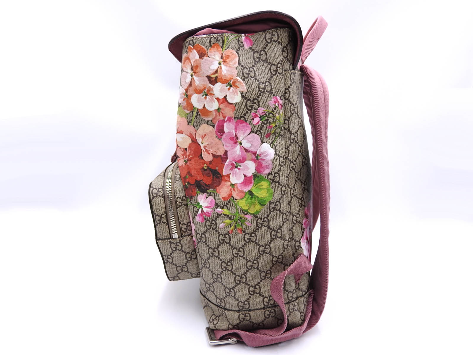 e3a8d9c326b9 Auth GUCCI GG Blooms Supreme Backpack Bag PVC Leather Pink Red Beige ...
