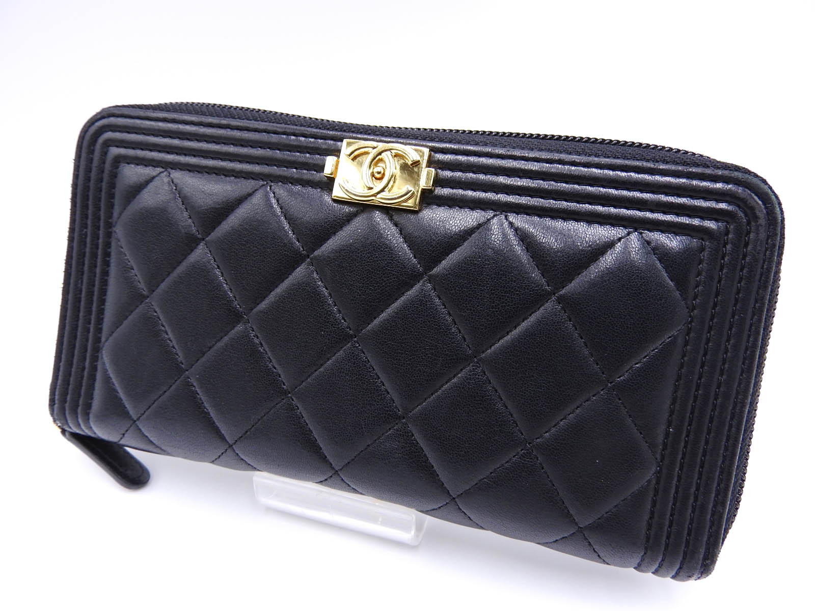 4ece6b3100 Details about Auth CHANEL Boy Chanel Zip Around Long Wallet Lambskin Black  Gold A80288 A-9372