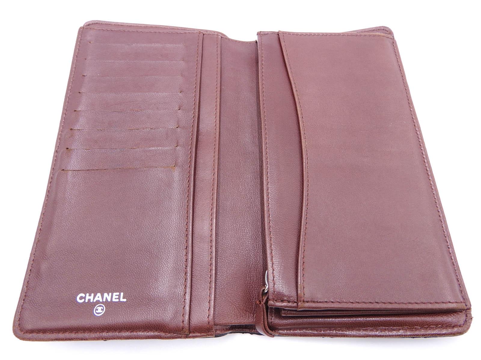 4494e7a1 Auth CHANEL CC Matelasse Bifold Long Wallet Lambskin Black Silver A31509  A-9381