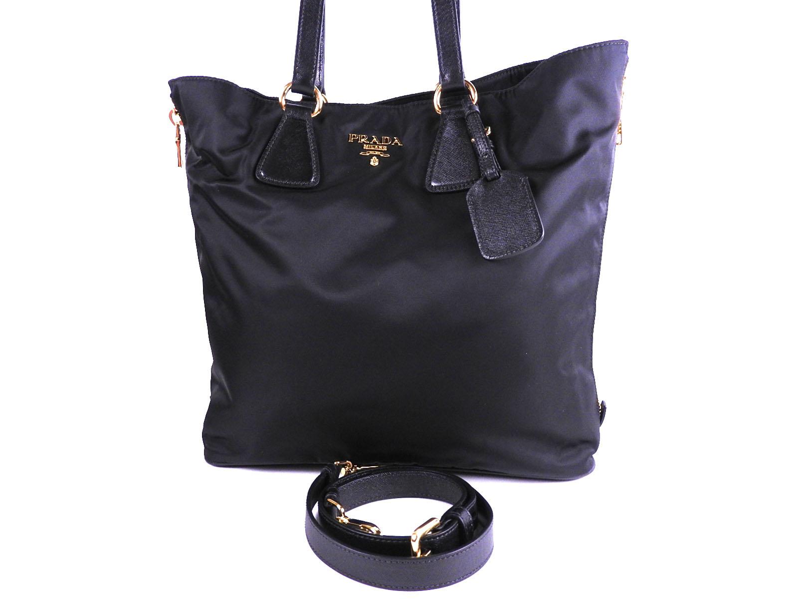0e214f2c8668f9 Auth PRADA Tessuto Nylon SAFFIANO Leather 2way Tote Bag Shoulder Bag Black  NERO Gold BR4988 A-9450