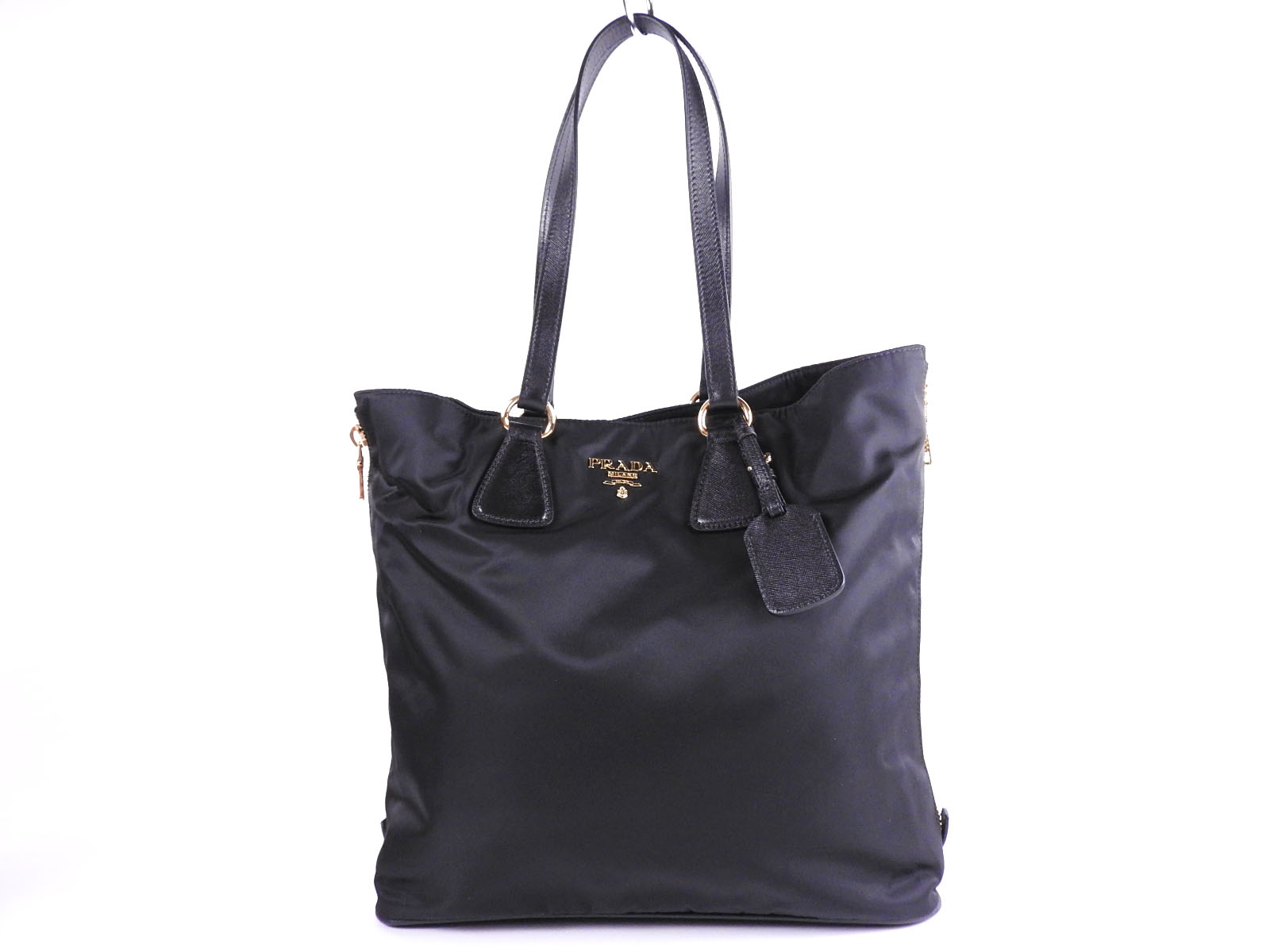 45431cbcce2b Auth PRADA Tessuto Nylon SAFFIANO Leather 2way Tote Bag Shoulder Bag Black  NERO Gold BR4988 A-9450