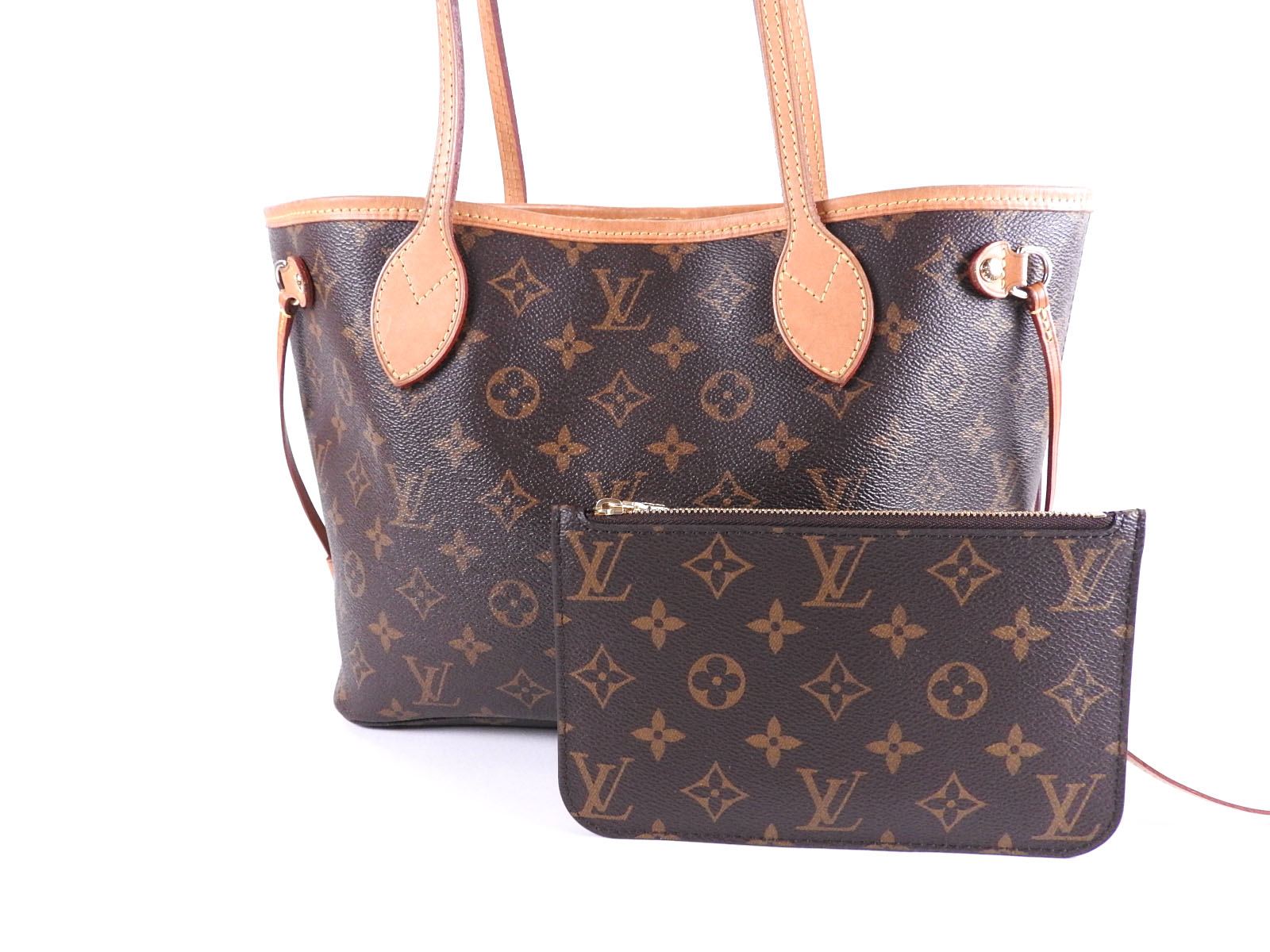 6472ba86f6a LOUIS VUITTON Neverfull PM Monogram Shoulder Tote Bag Pouch Pivoine M41245  A9468