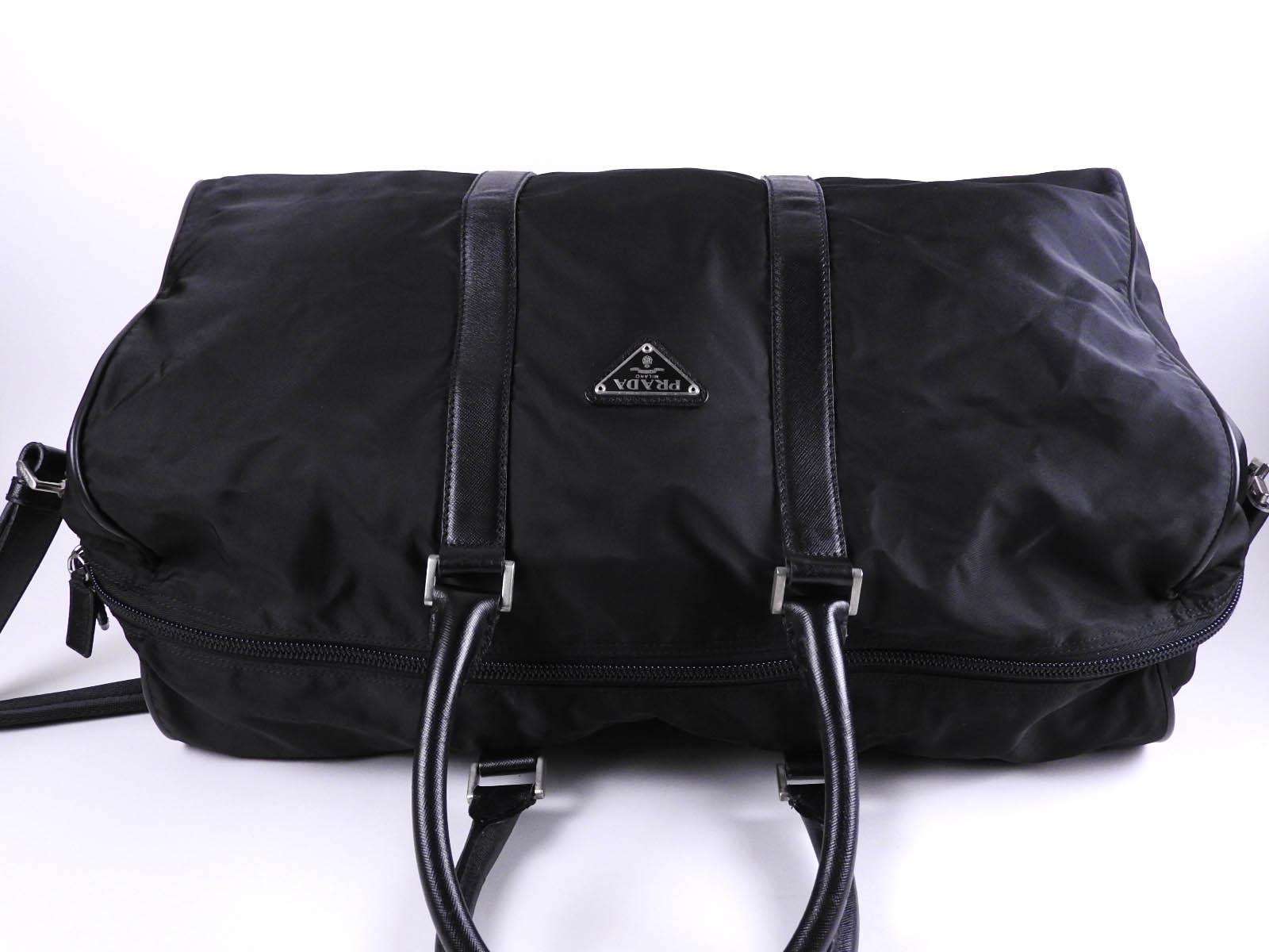 84a12351e8d2 Auth PRADA Tessuto Nylon 2way Travel Boston Bag Saffiano Leather ...