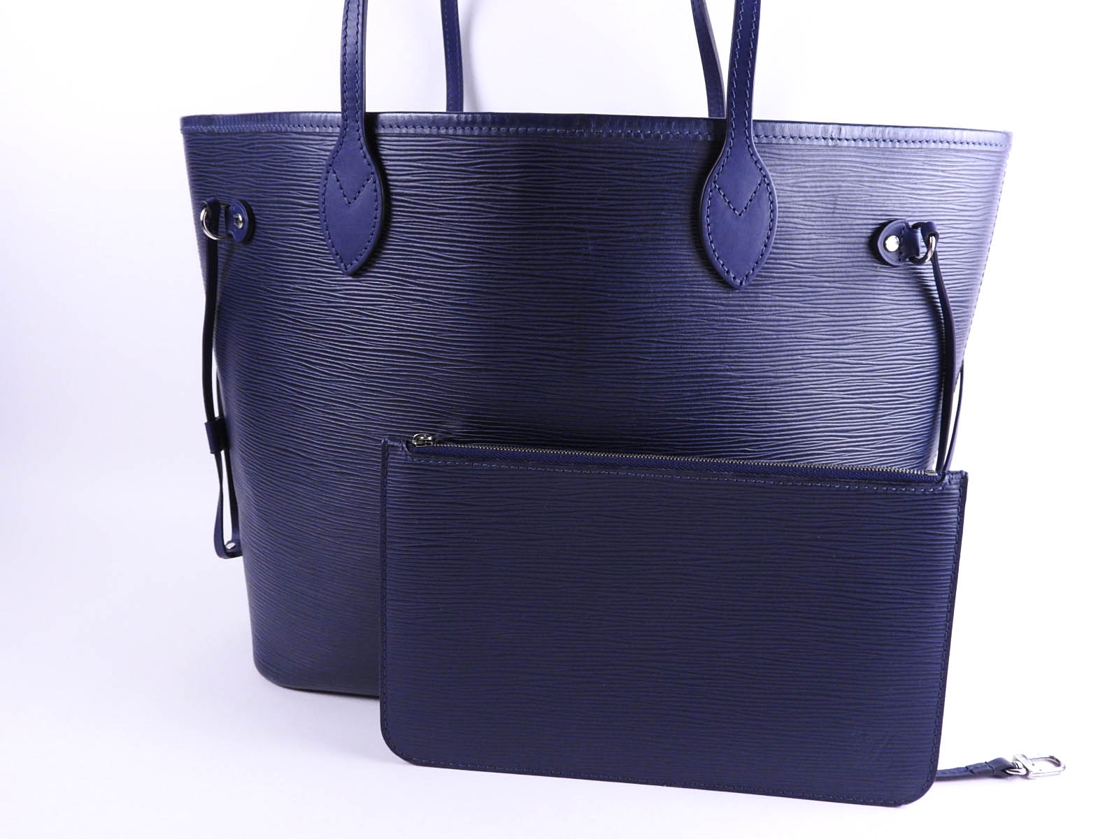 aa3fd96af Auth LOUIS VUITTON Neverfull MM Shoulder Tote Bag with Pouch Epi Indigo  Blue M40885 A-9509