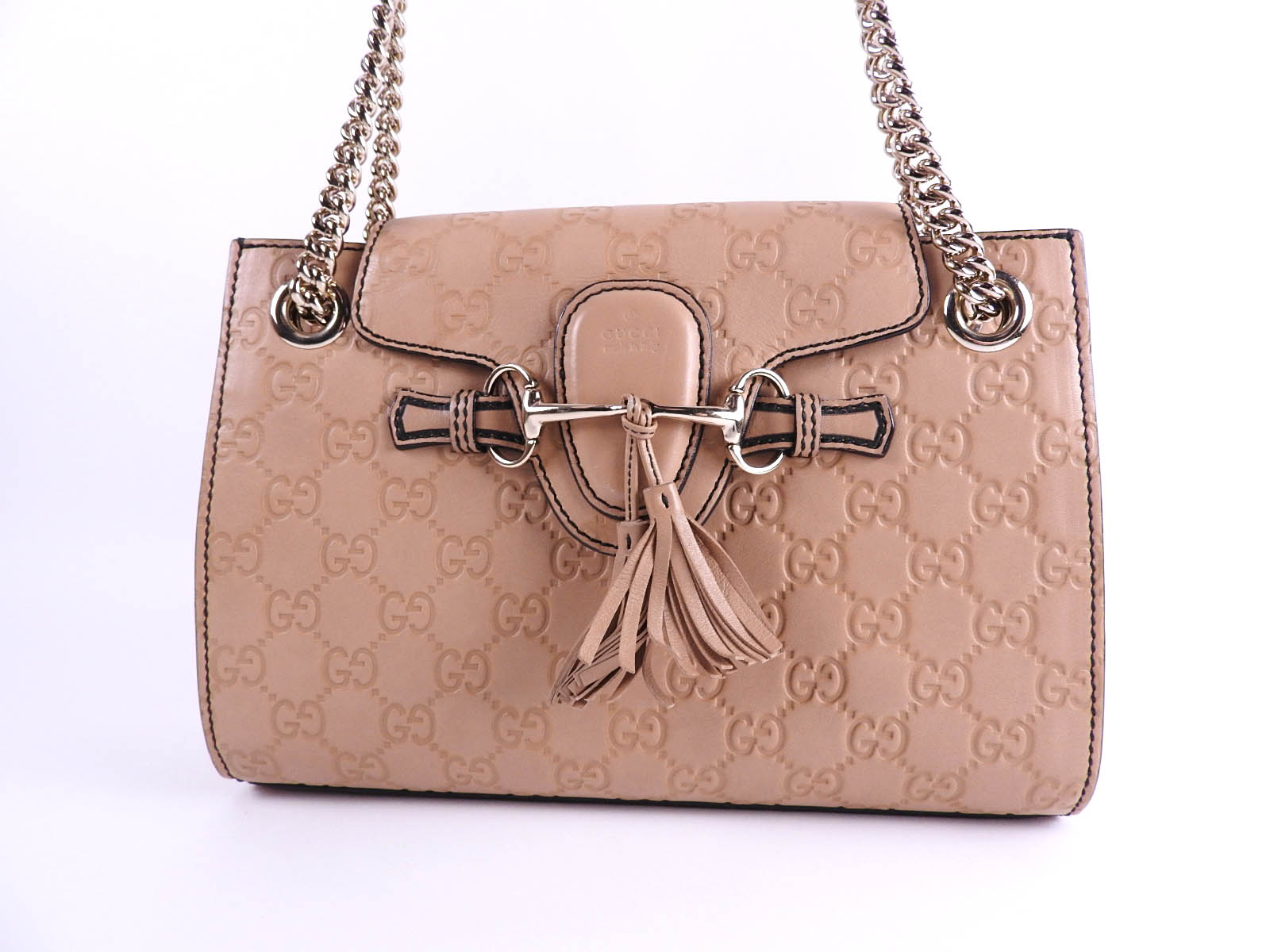 984baffbad217f Auth GUCCI Emily Guccissima Chain Shoulder Bag Calf Leather Beige Gold  369621 A-9528